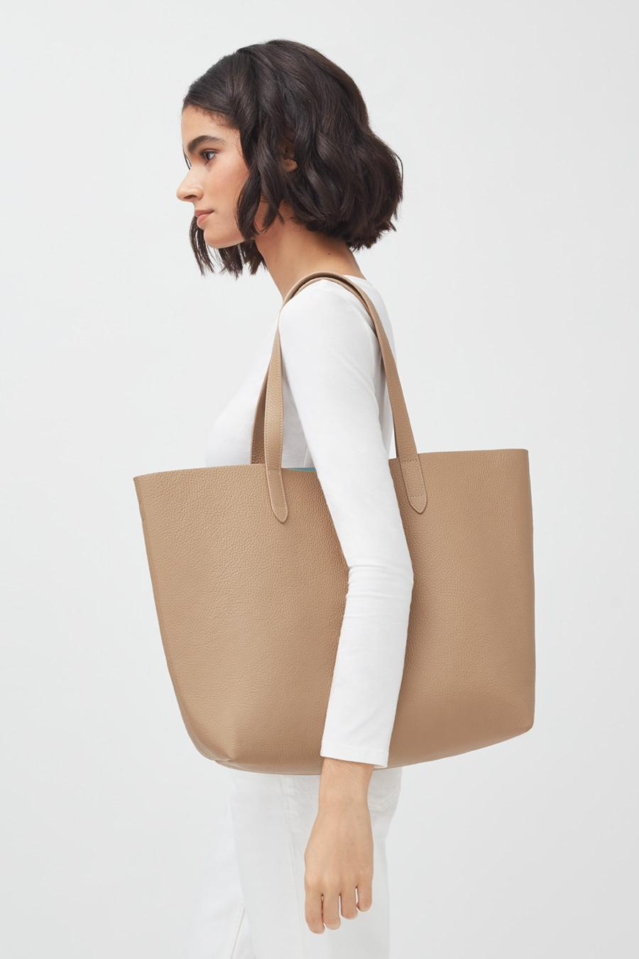 Women's Classic Structured Leather Tote Bag in Cappuccino/Blue | Pebbled Leather by Cuyana 4