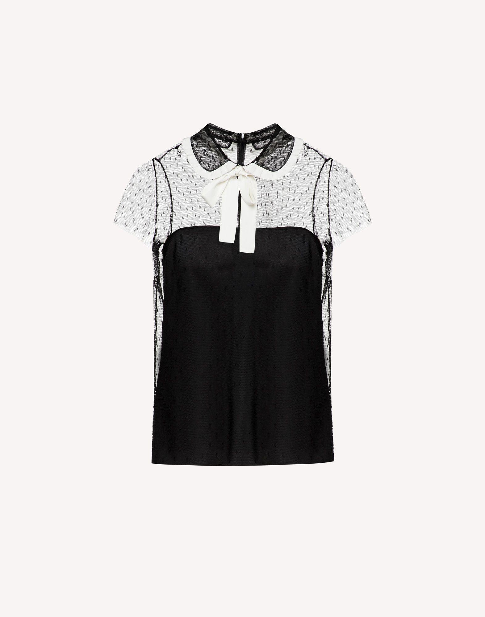 POINT D'ESPRIT TULLE TOP WITH ROUNDED COLLAR AND BOW 4