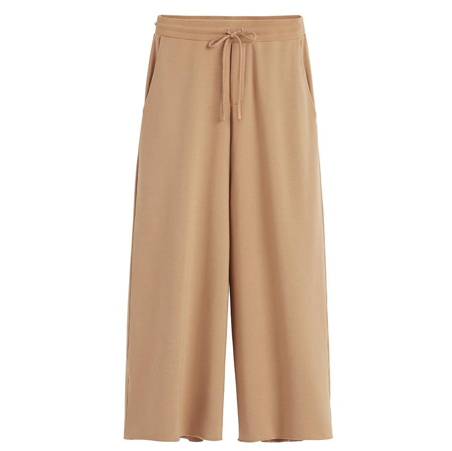 Women's French Terry Wide-Leg Cropped Pant in Camel | Size: