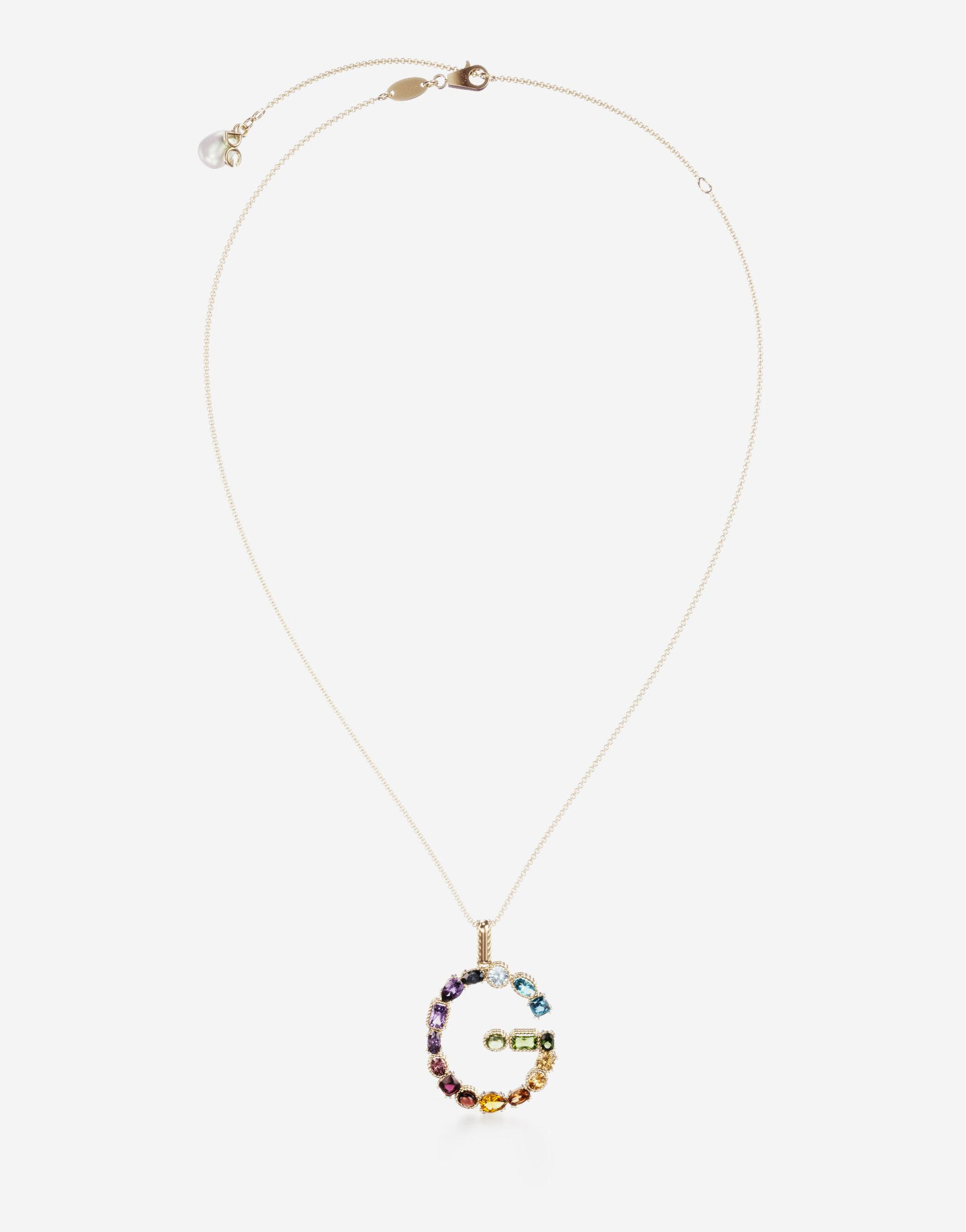 Rainbow alphabet G pendant in yellow gold with multicolor fine gems
