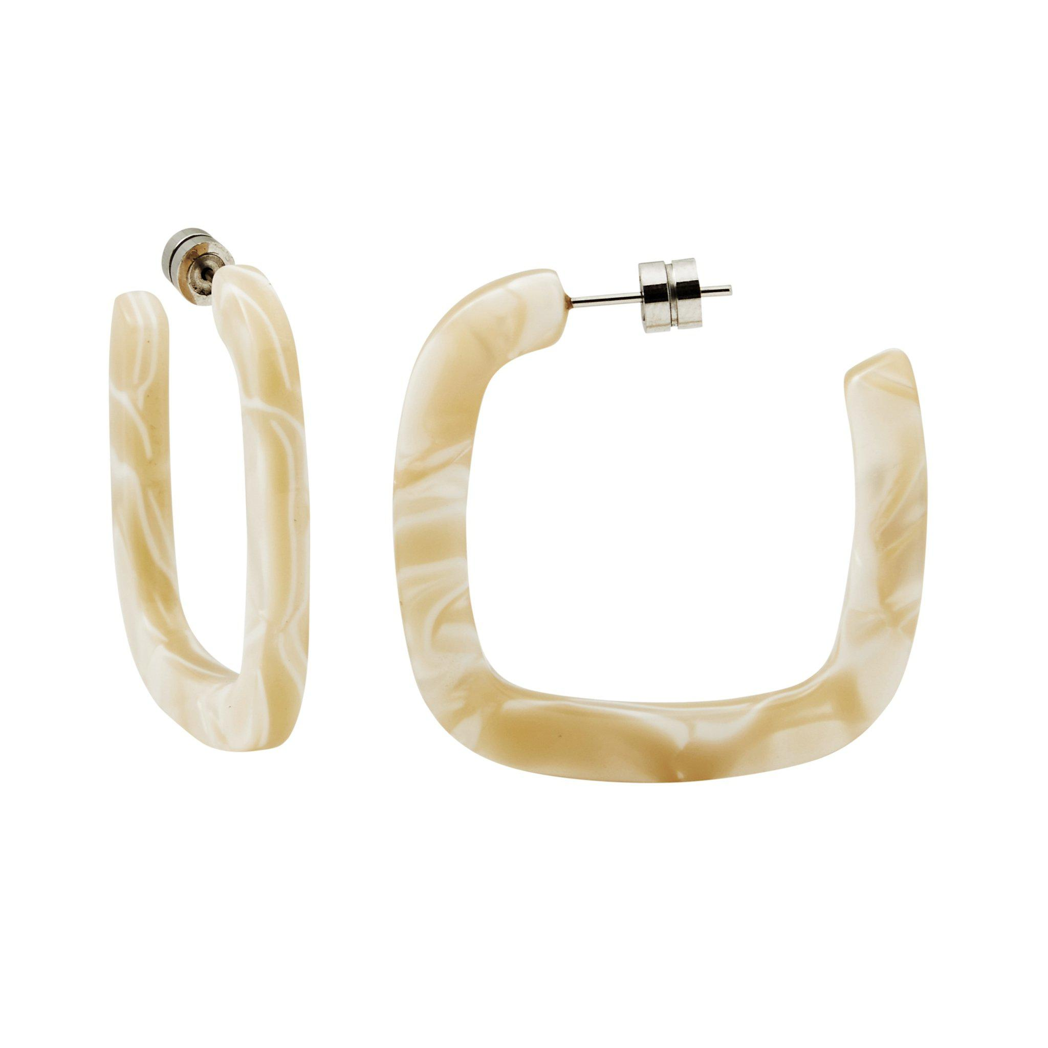 Midi Square Hoops in Ivory