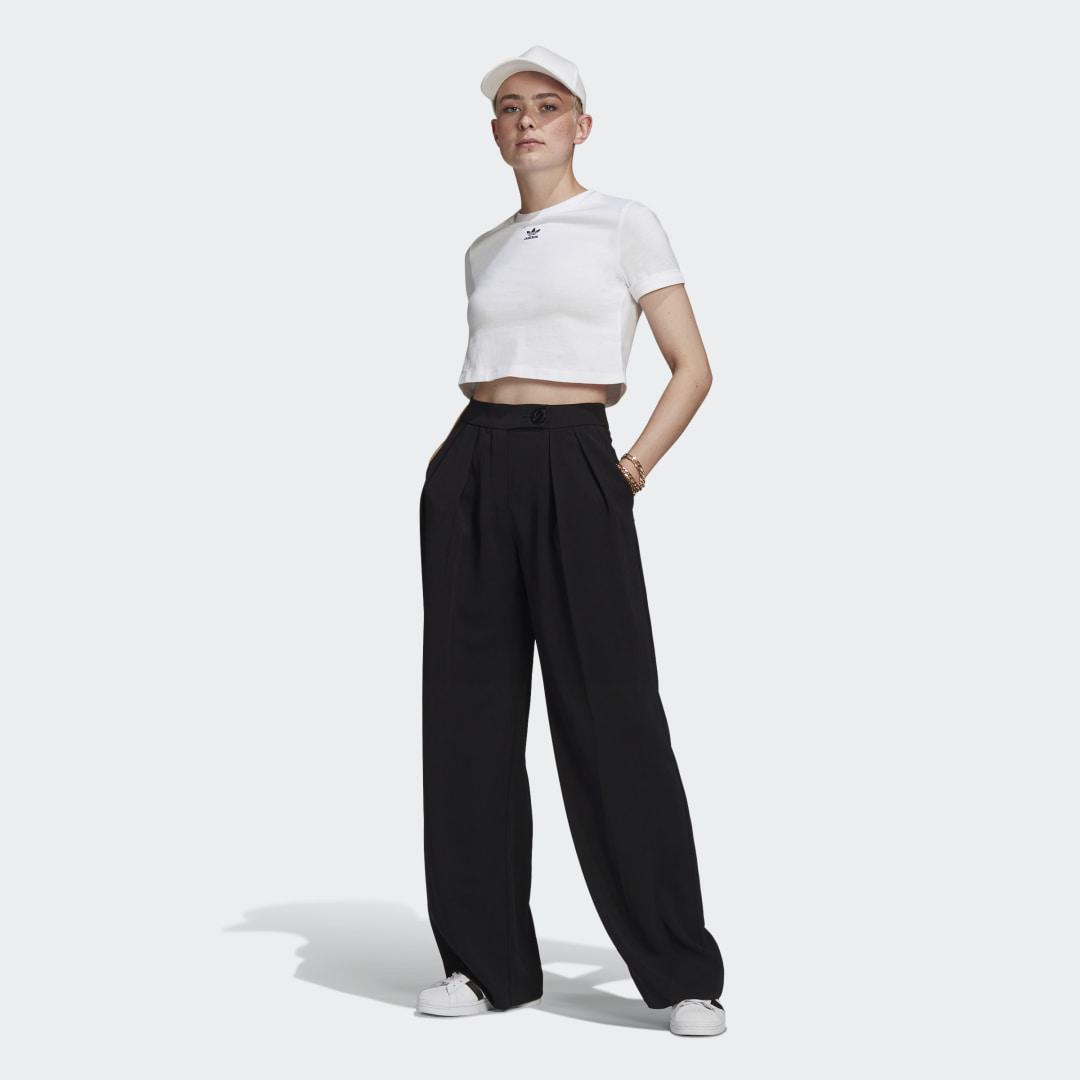 Adicolor Classics Roll-Up Sleeve Crop Top White 3