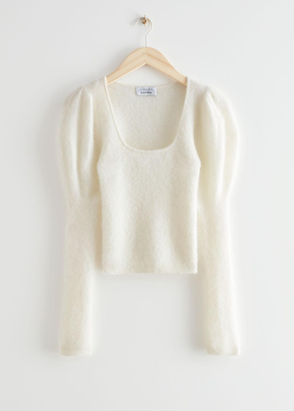 Fitted Alpaca Blend Puff Sleeve Top