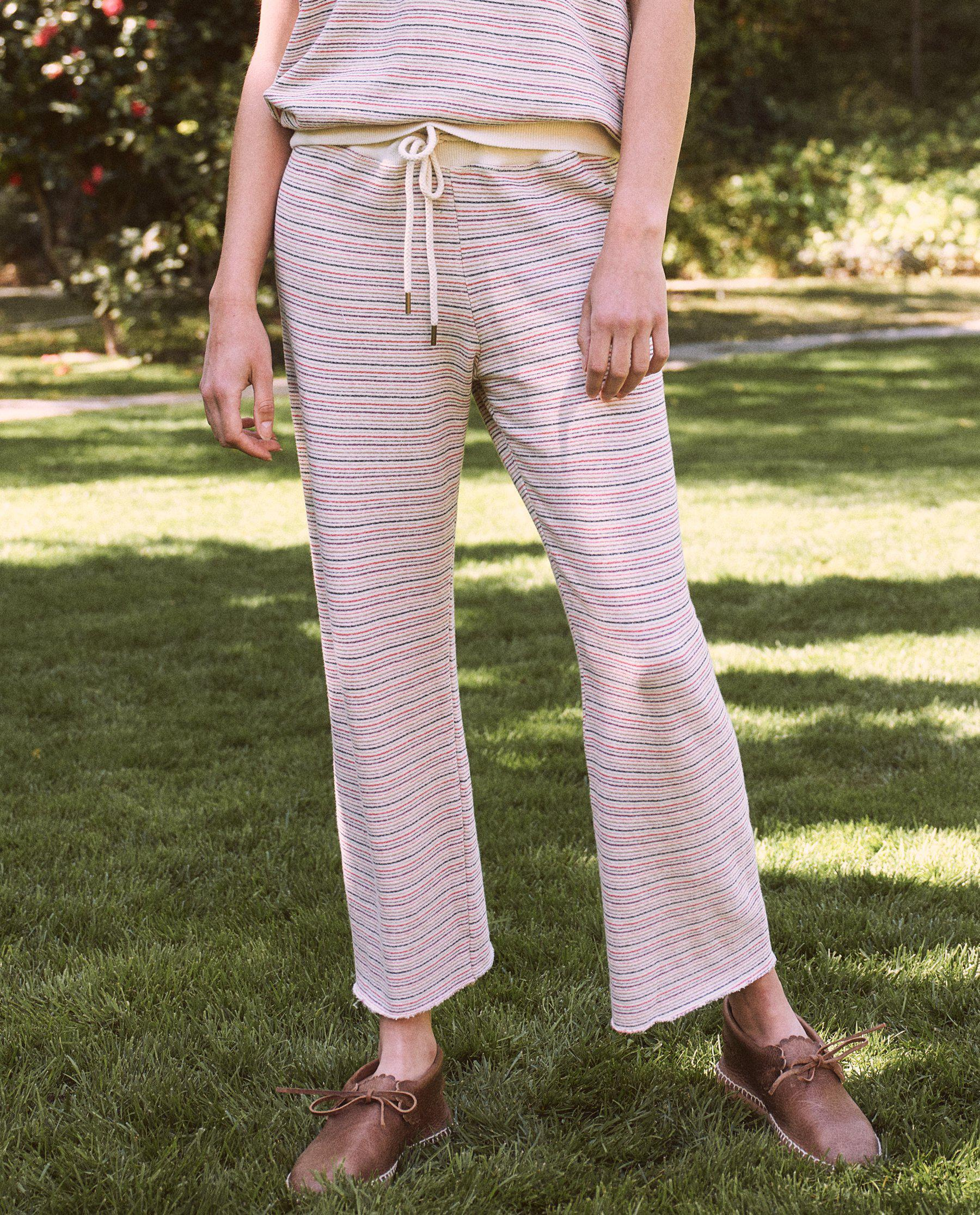 The Wide Leg Cropped Sweatpant. -- Washed White Colorful Stripe 2