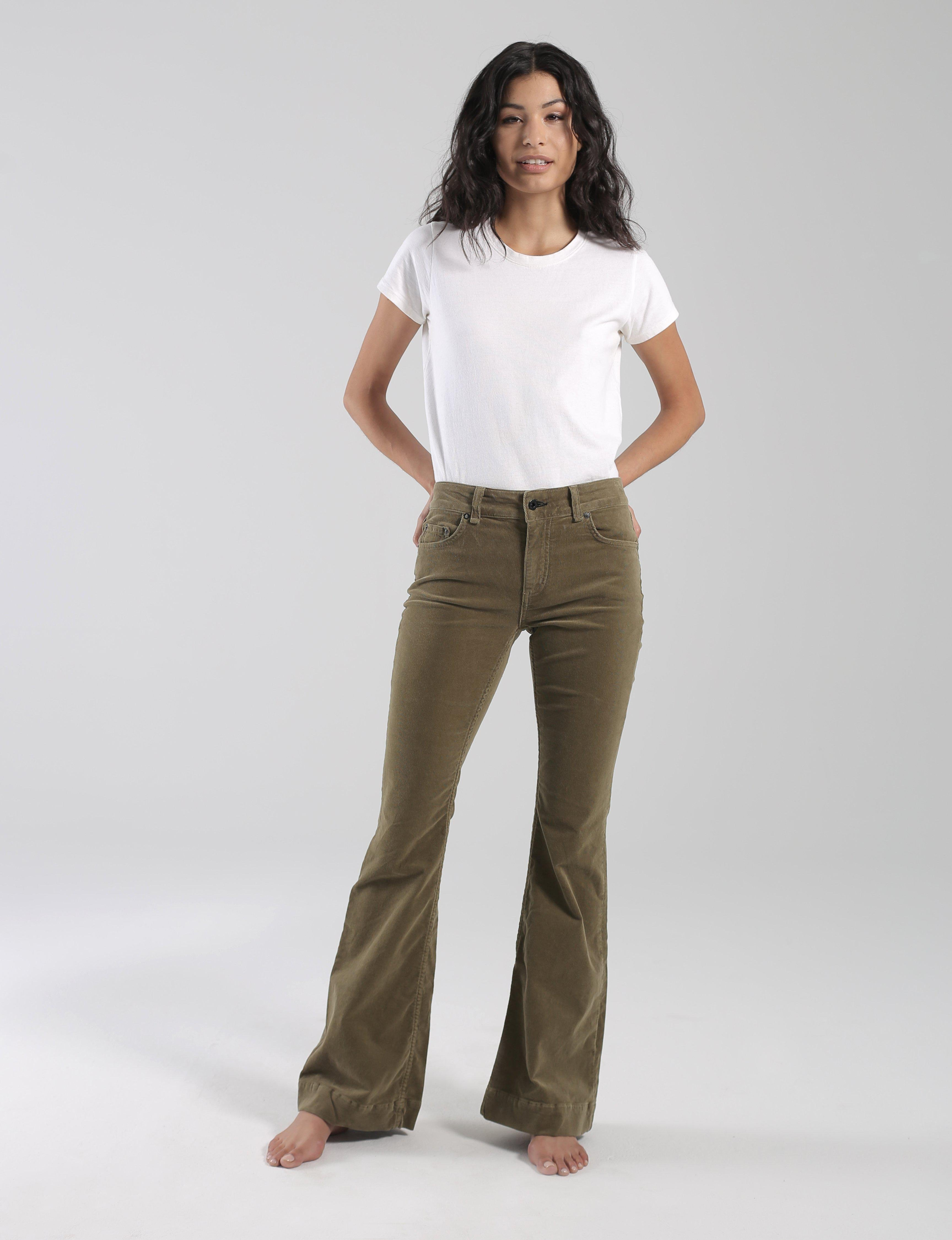 mid rise flare- army corduroy