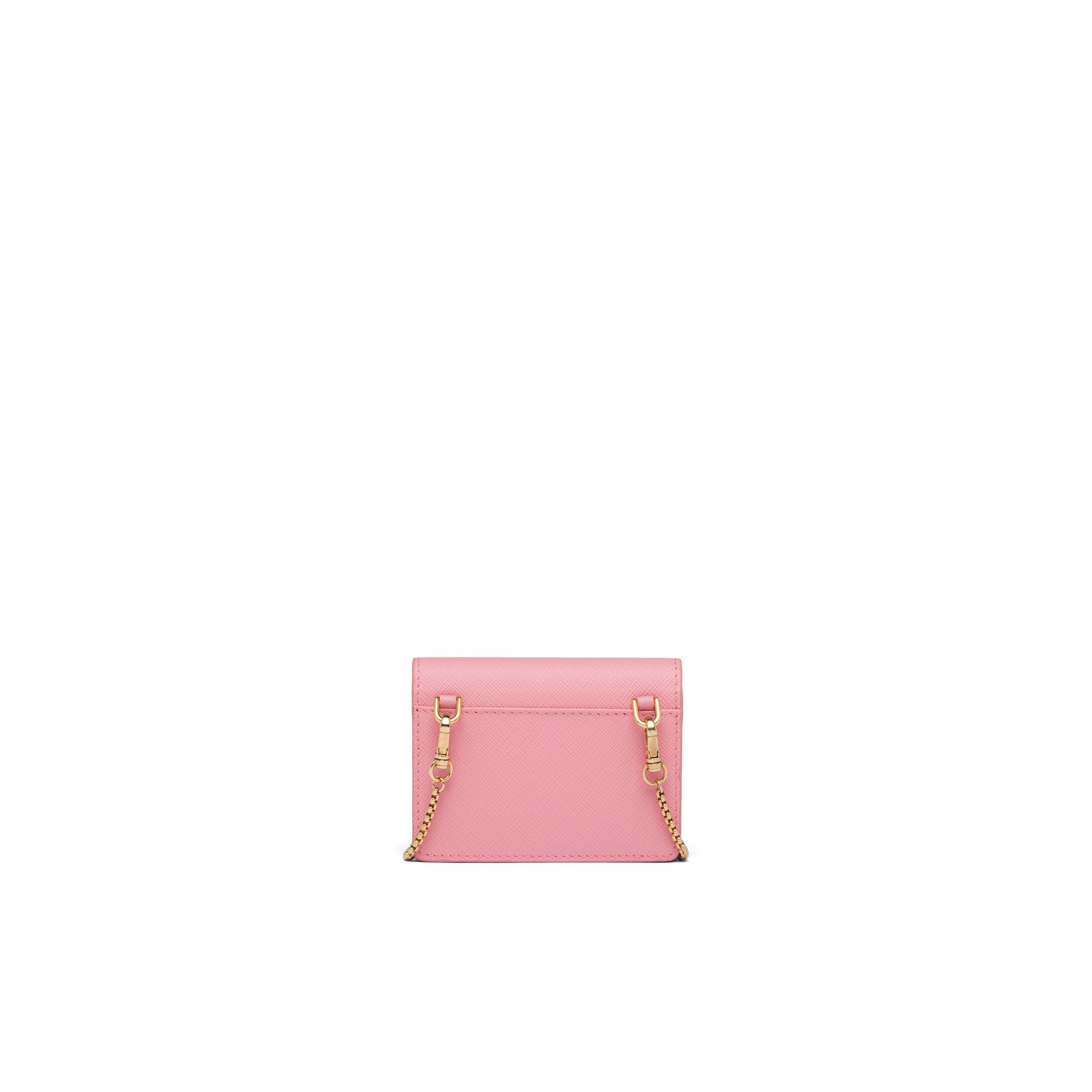 Saffiano Leather Card Holder With Chain Women Petal Pink/fiery Red 2