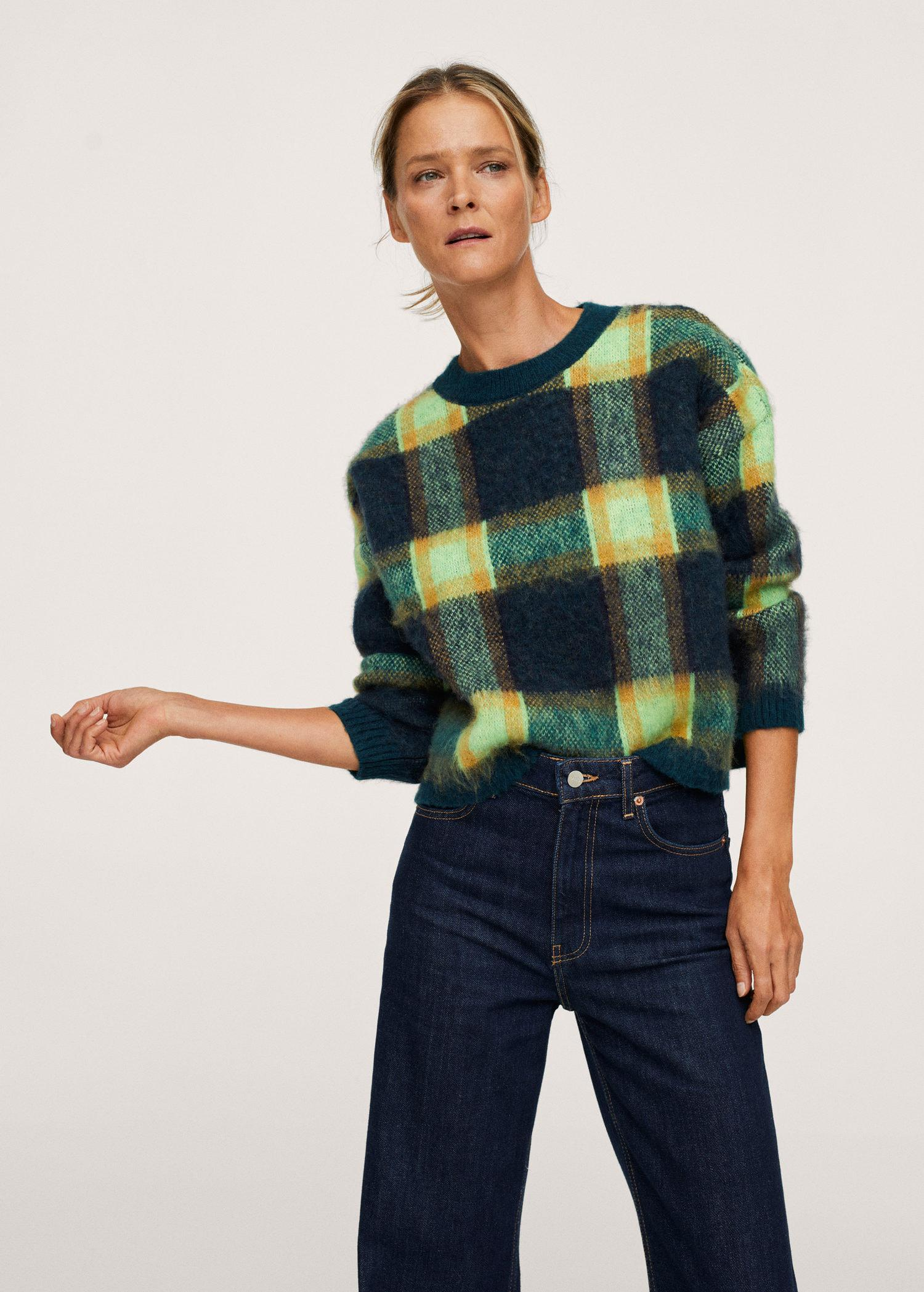 Textured checked sweater