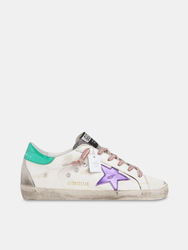 Limited Edition Super-Star in leather and suede with crystal tongue