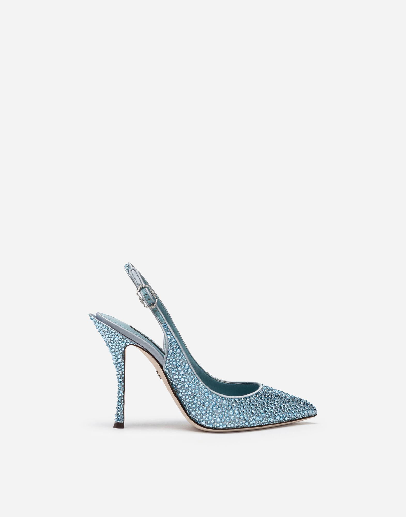 Sling backs in satin and crystal