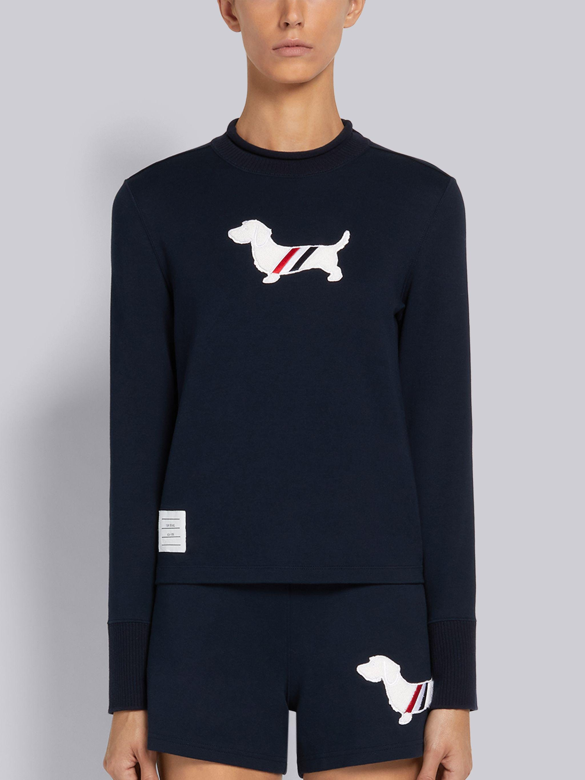 Navy Cotton Milano Stitch Hector Chenille Patch Long Sleeve Roll Neck Tee