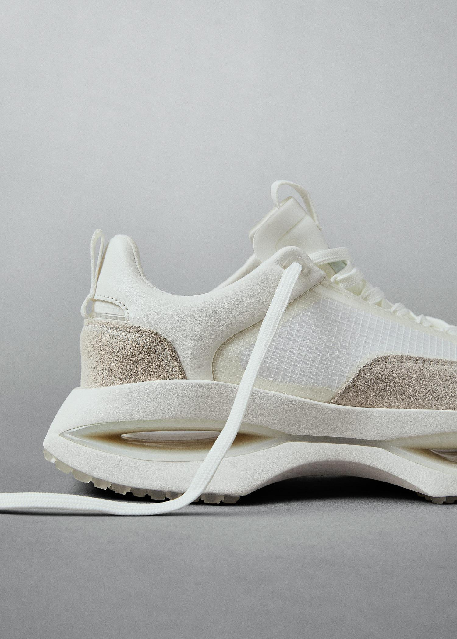 Leather trainers with transparent panels