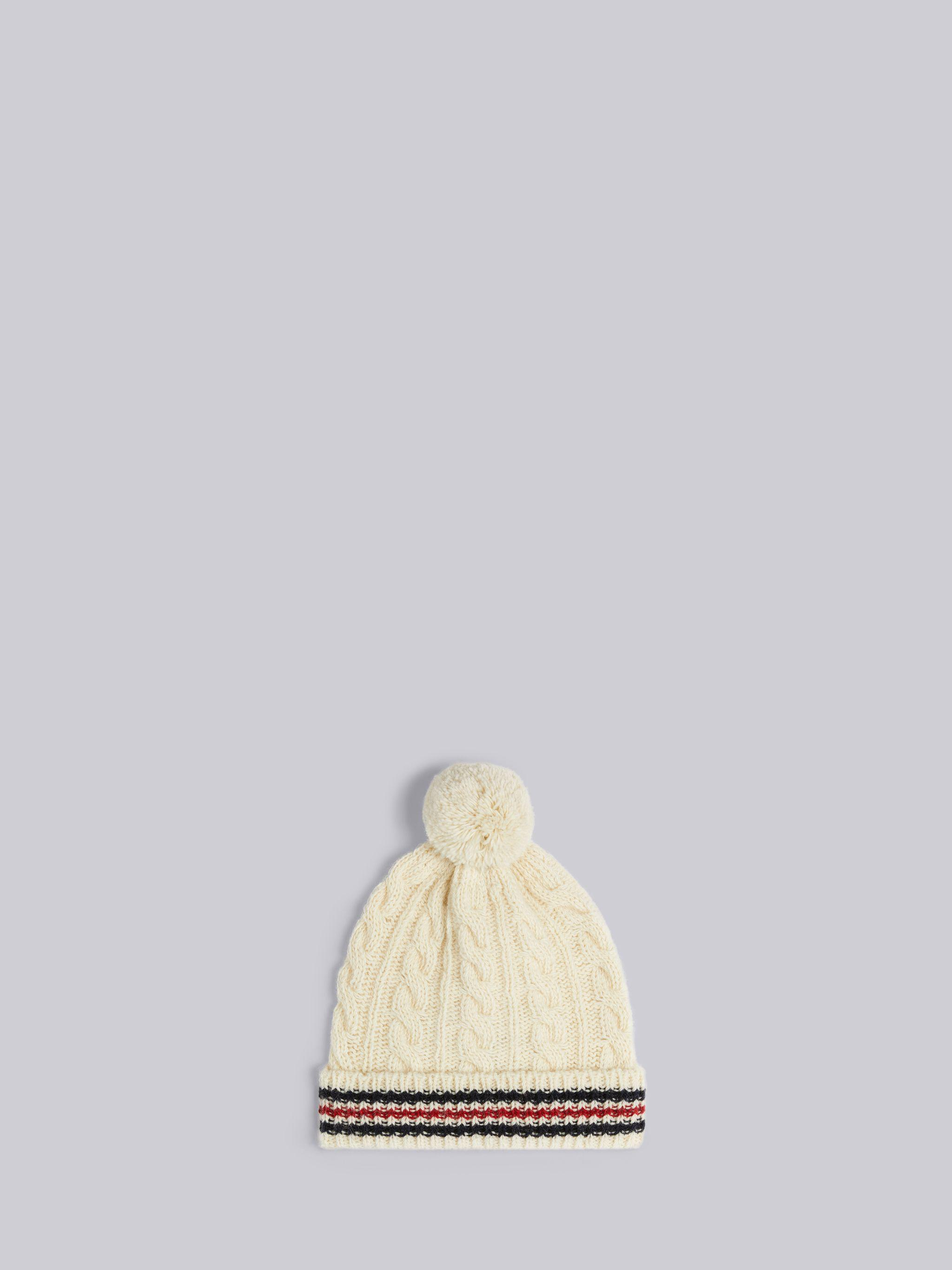 White Baby Cable Donegal Cricket Stripe Pom Pom Hat