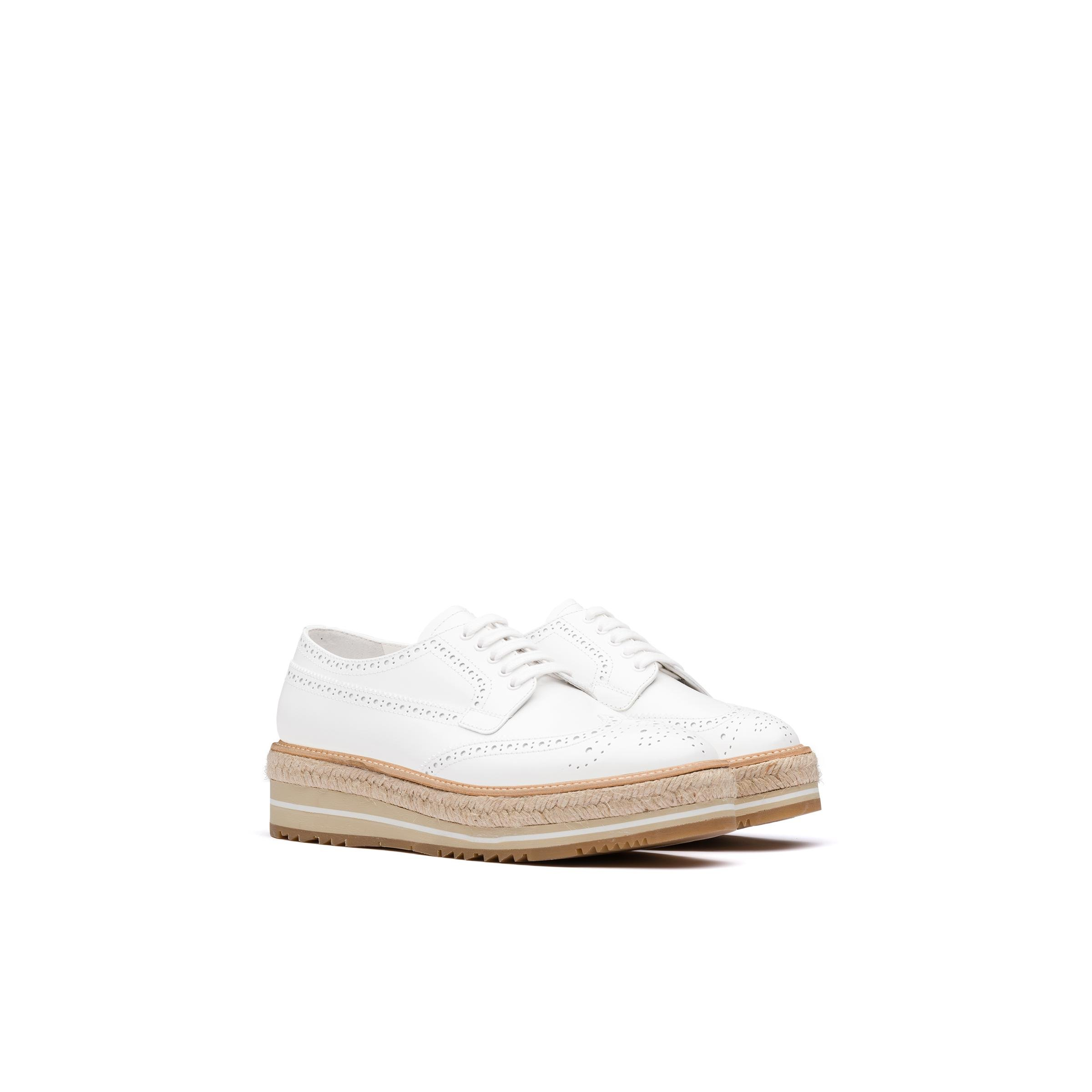 Microsole Brushed Leather Shoes Women White