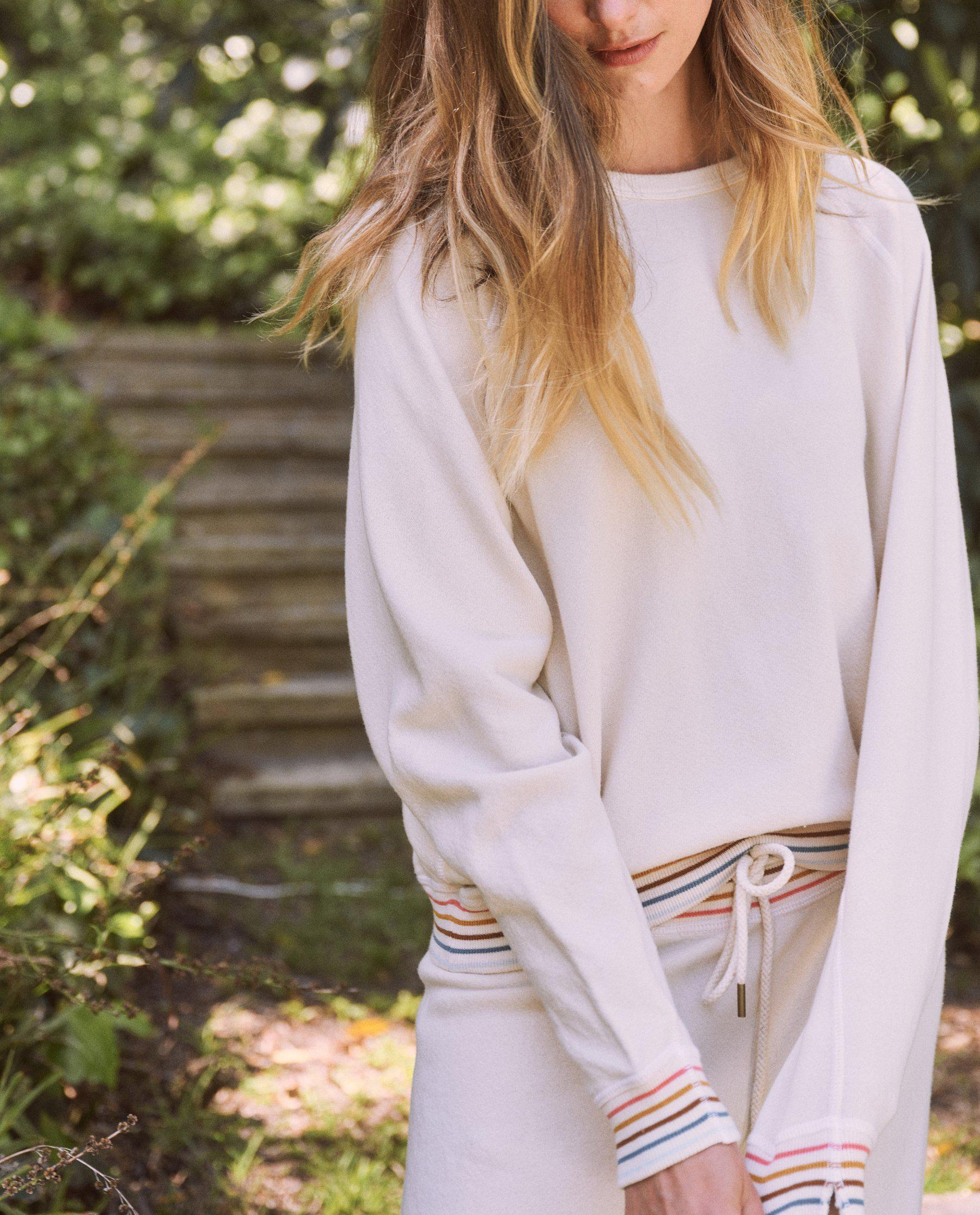 The College Sweatshirt. Novelty -- Washed White with Striped Rib 4