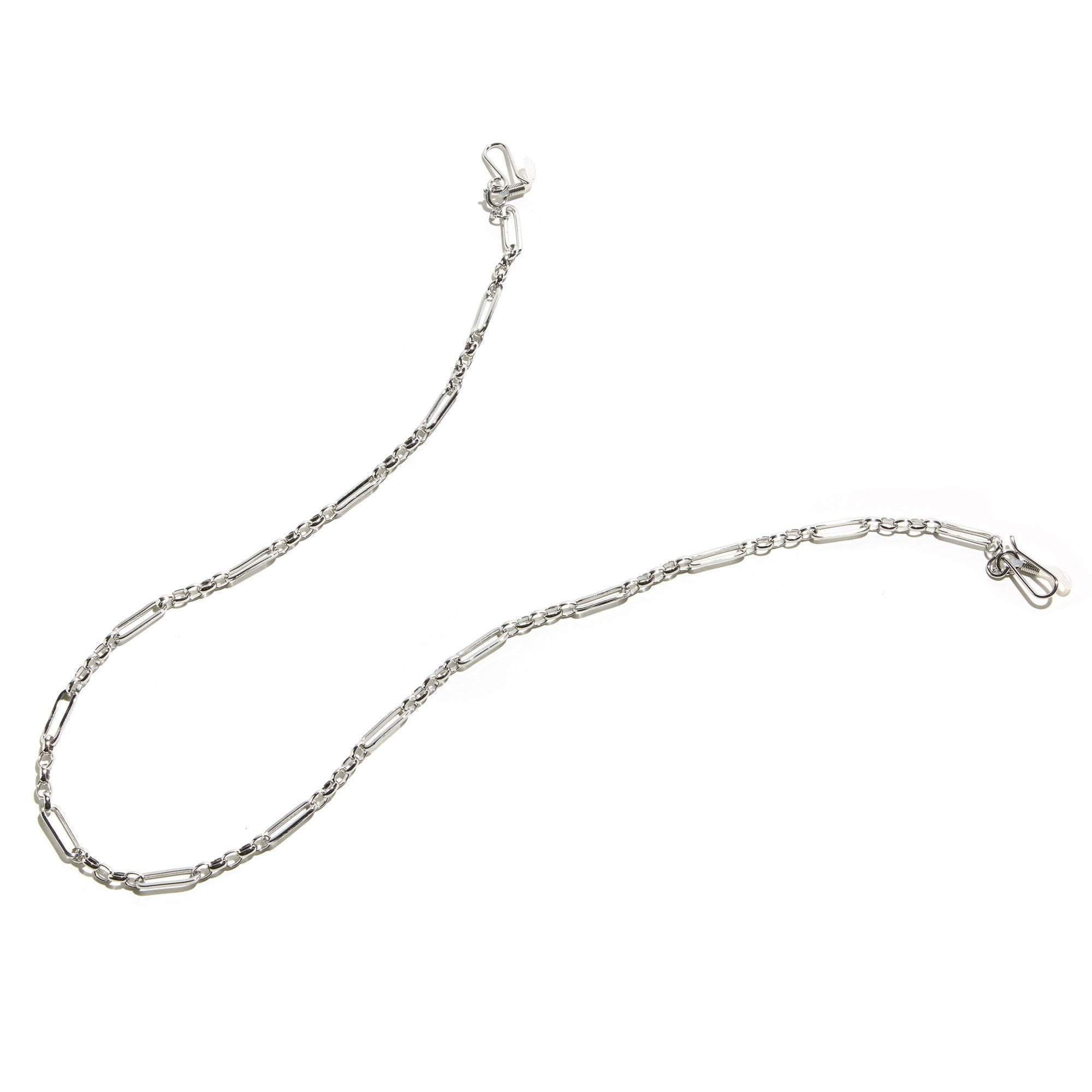 SILVER LONG LINK SUNGLASS AND FACE MASK CHAIN