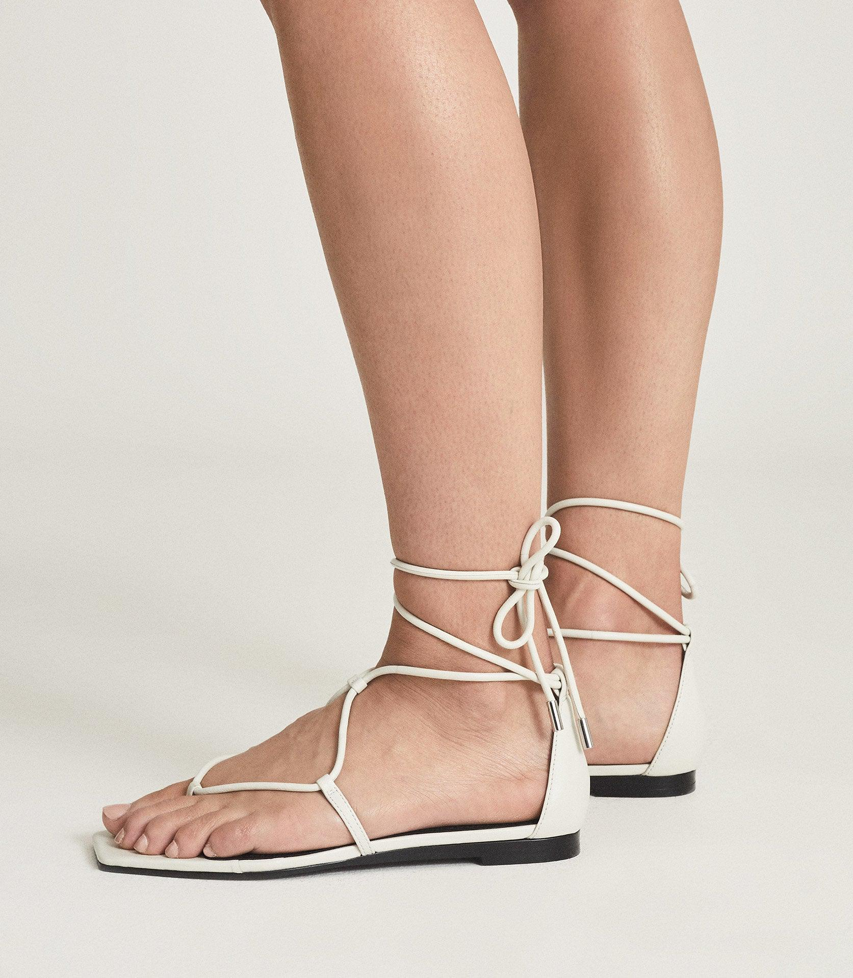 KALI FLAT - LEATHER STRAPPY WRAP SANDALS 5