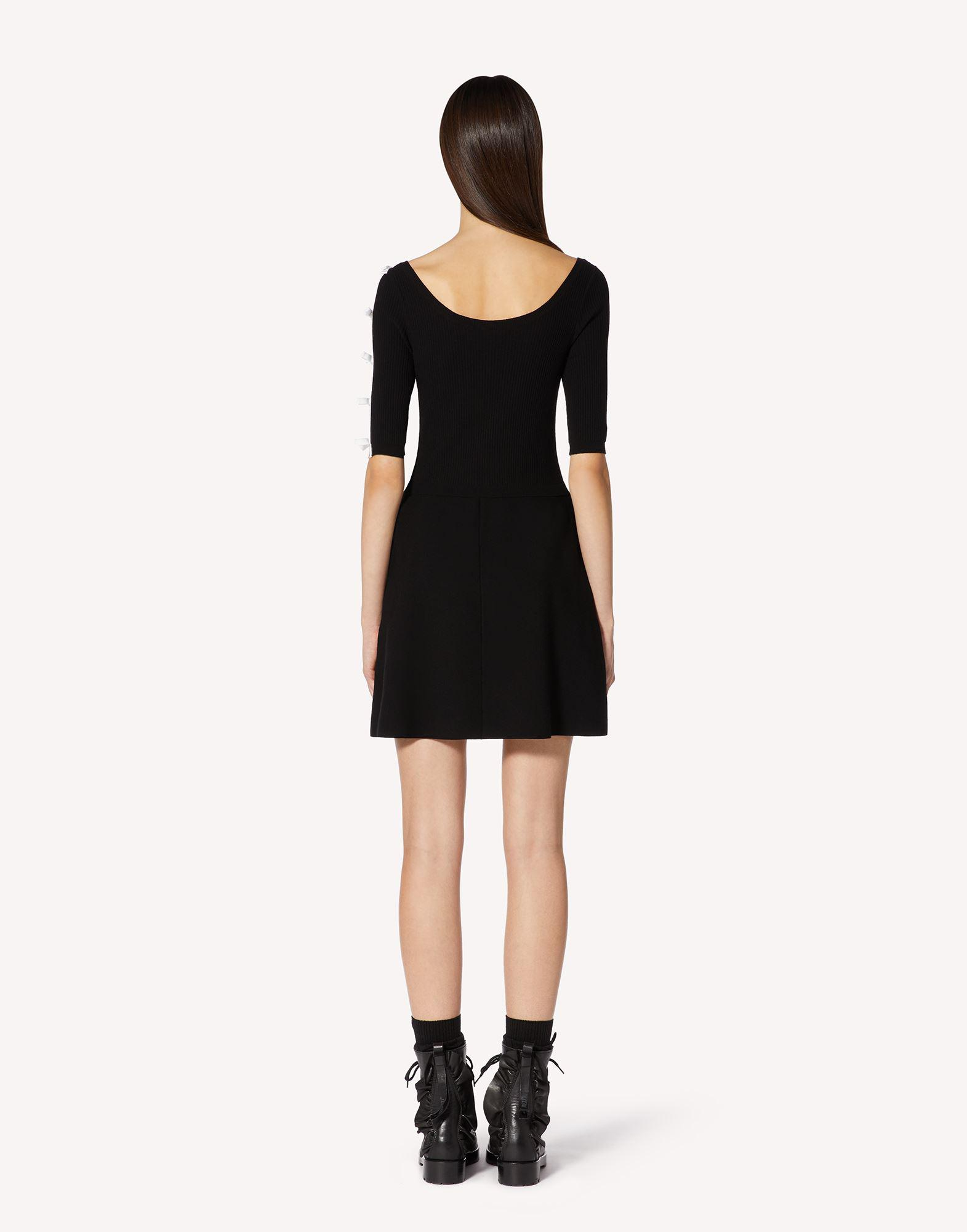 STRETCH VISCOSE KNIT DRESS WITH BOW DETAILS 1