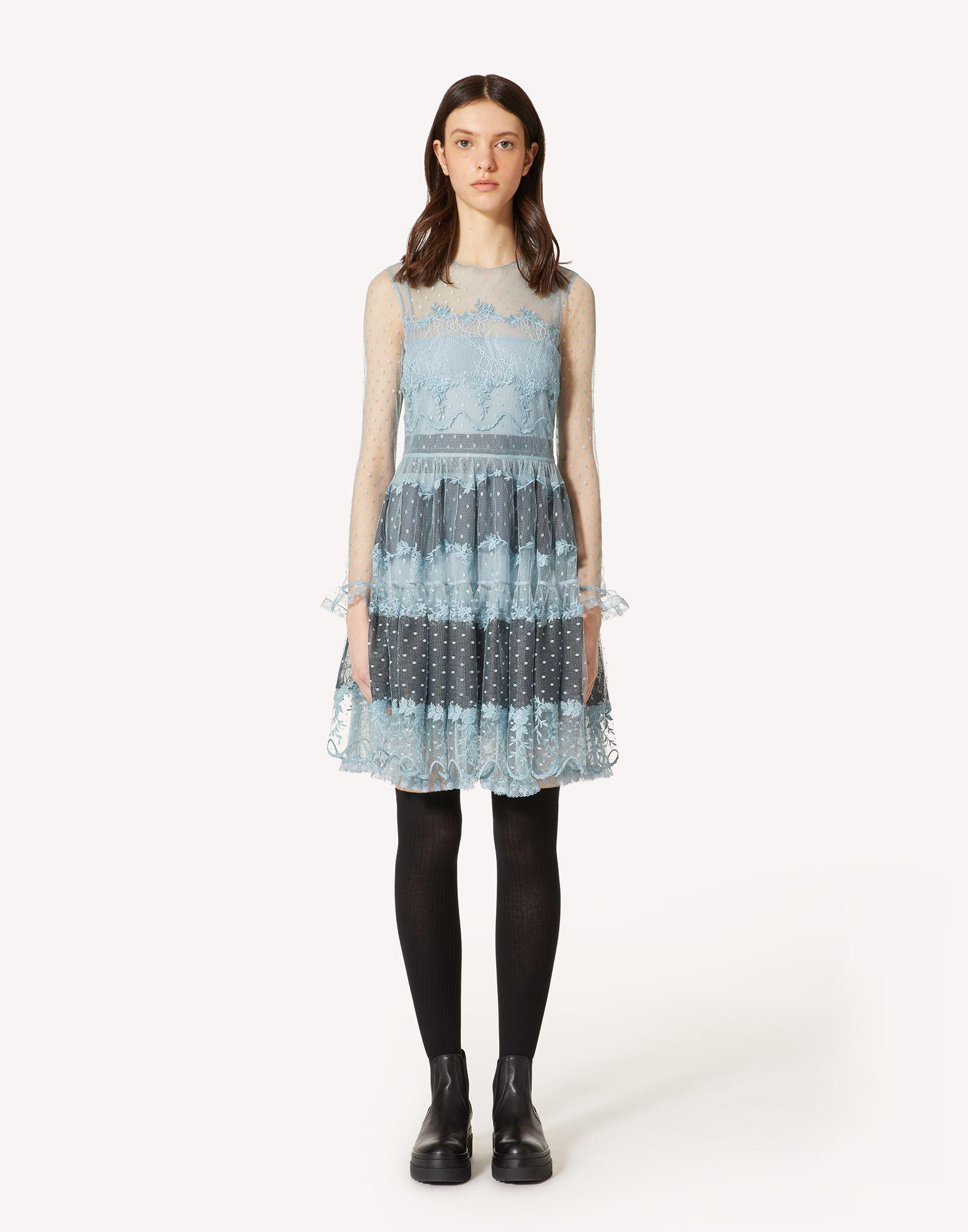 POINT D'ESPRIT TULLE DRESS WITH LACE RIBBONS