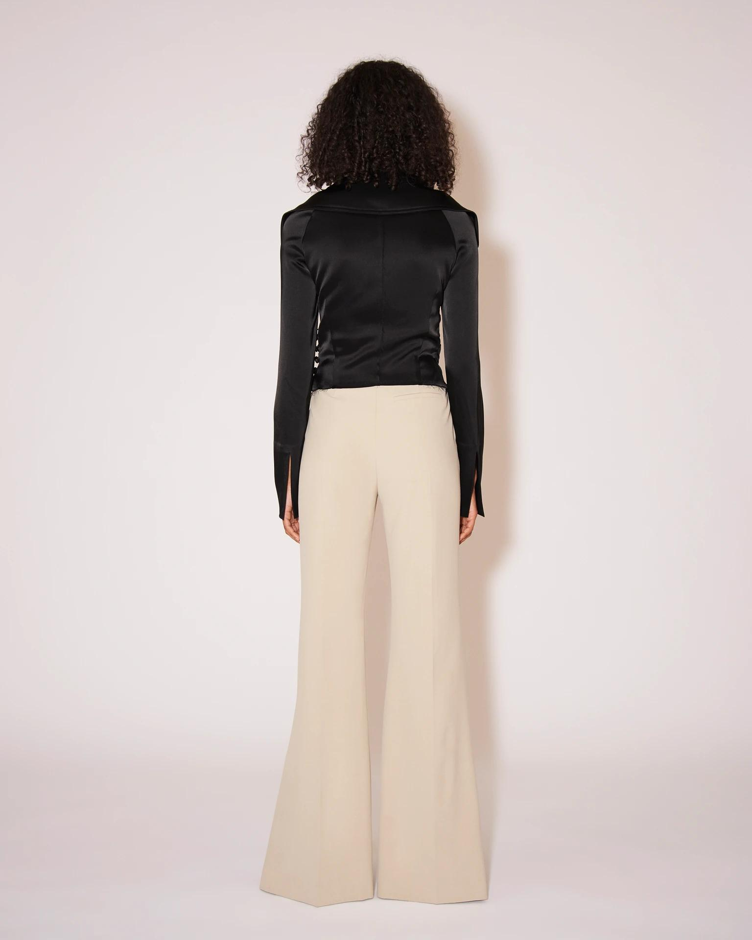 TULIP - Eco cady suiting wide-leg pants - Stone 3