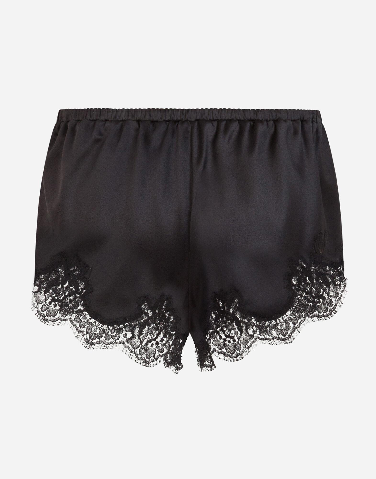 Satin lingerie shorts with lace detailing 2