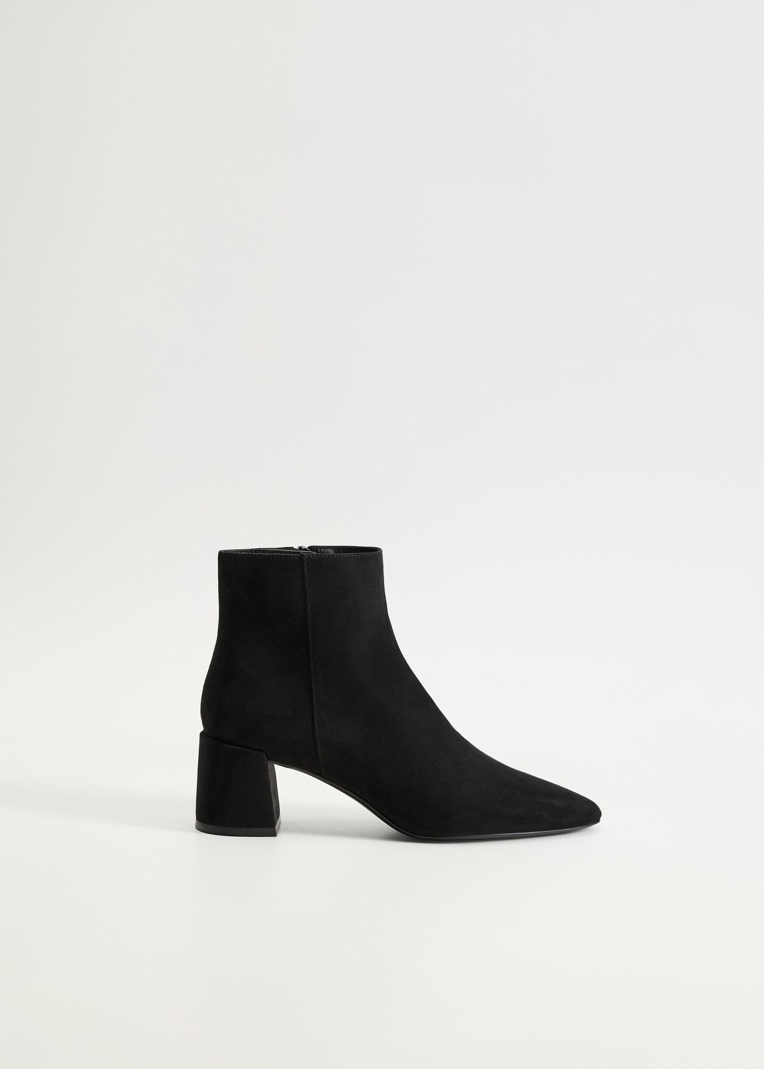 Heel suede ankle boots