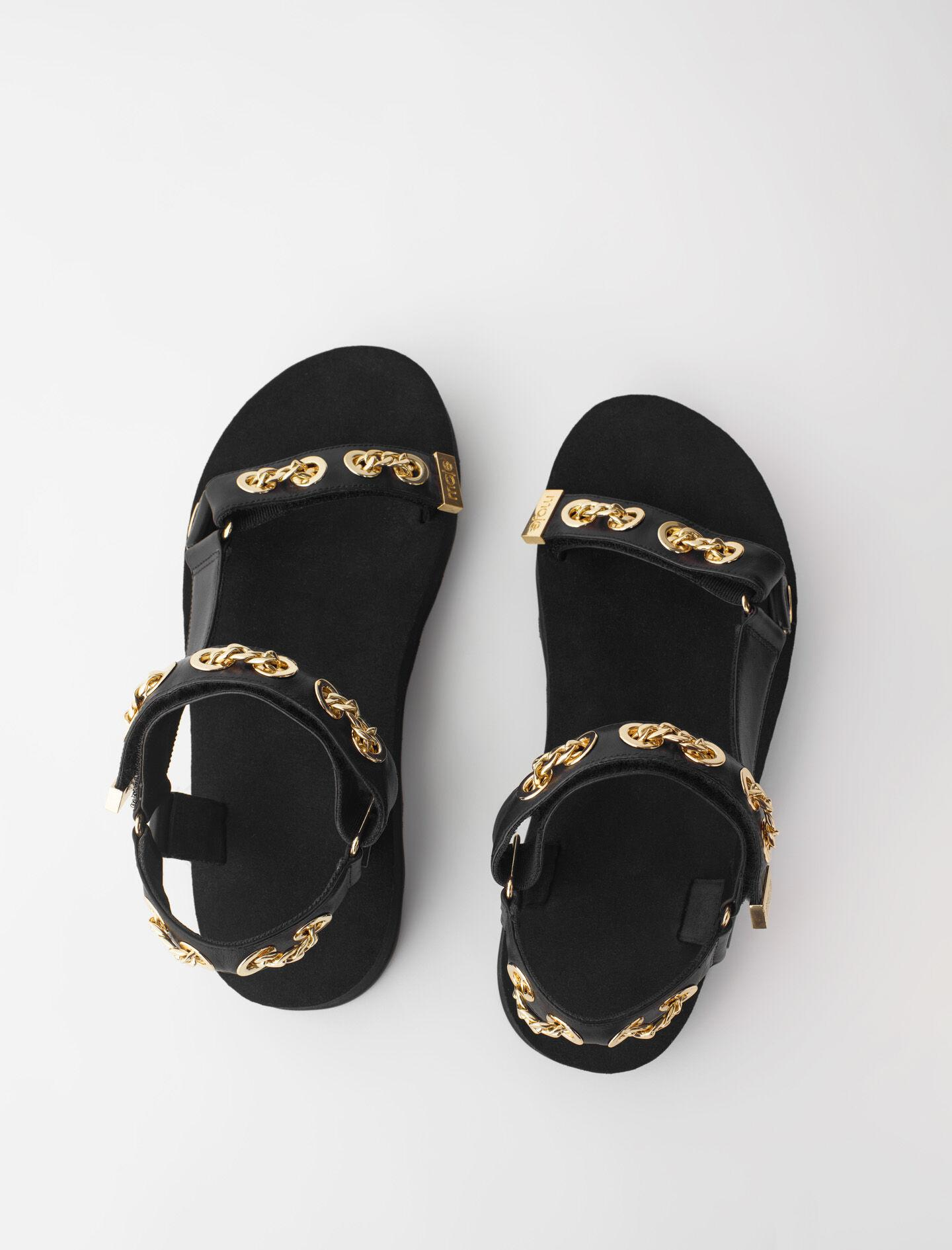 LEATHER SANDALS WITH EYELETS AND CHAIN 3
