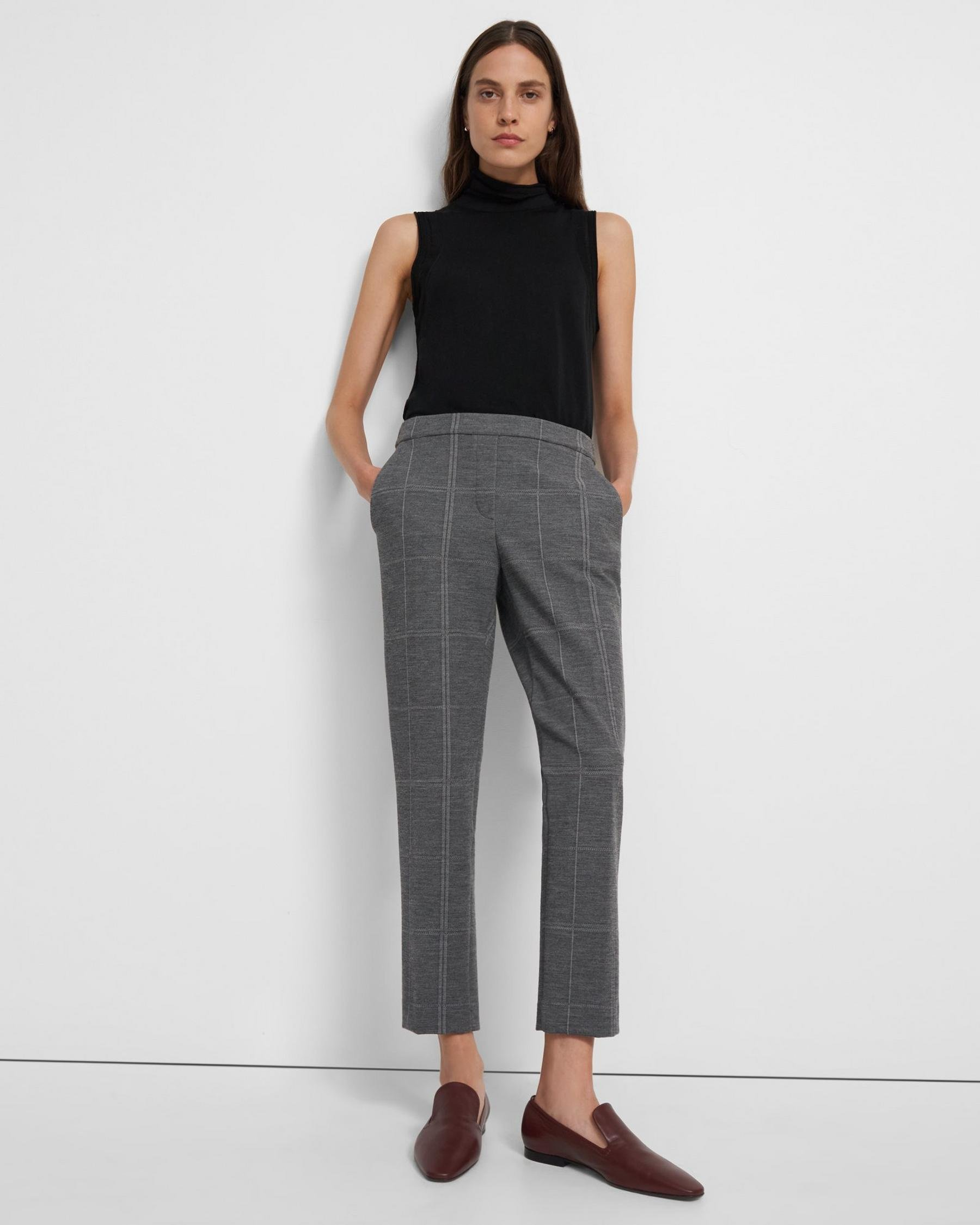 Treeca Pull-On Pant in Checked Eco Knit