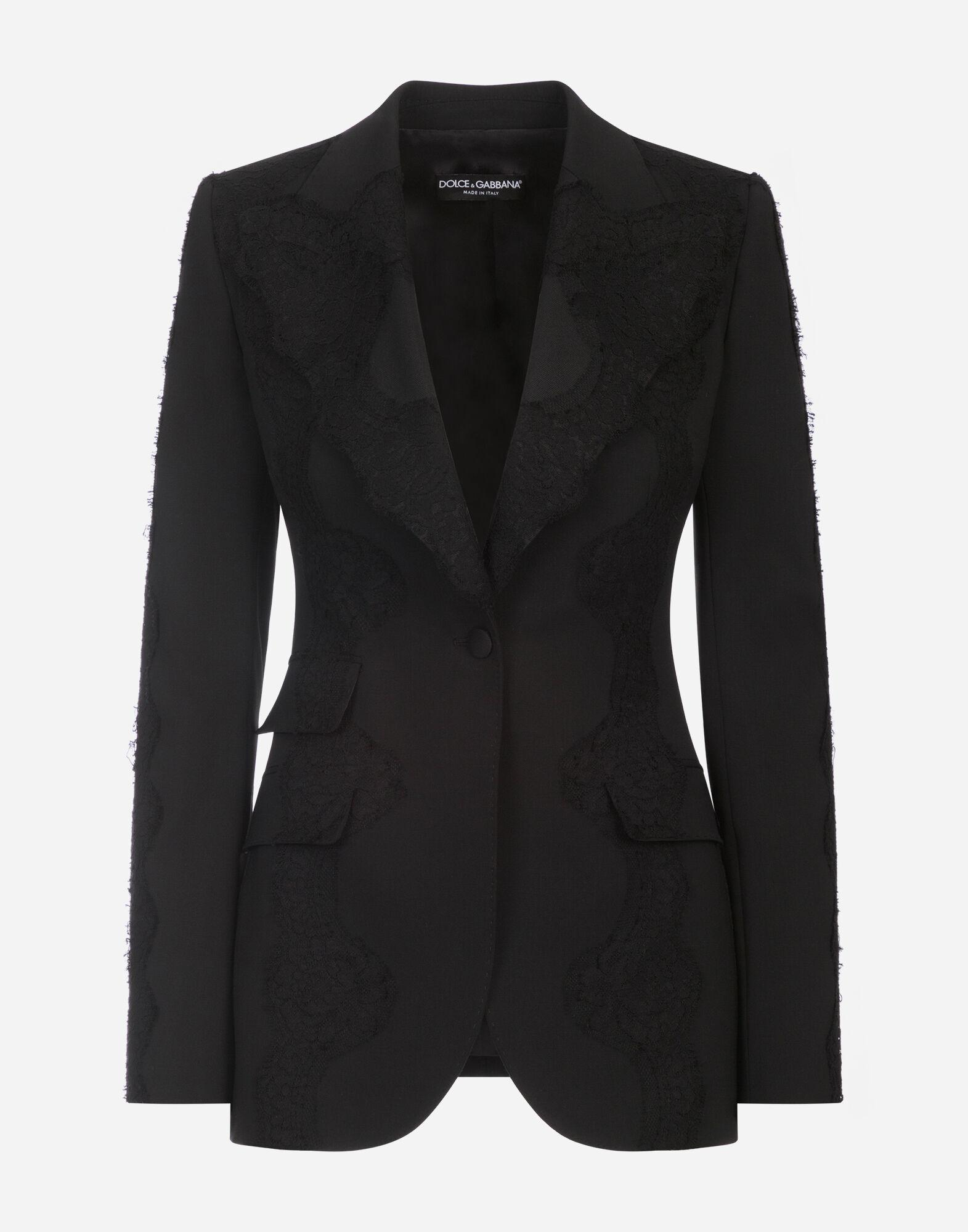 Single-breasted woolen blazer with lace details 3