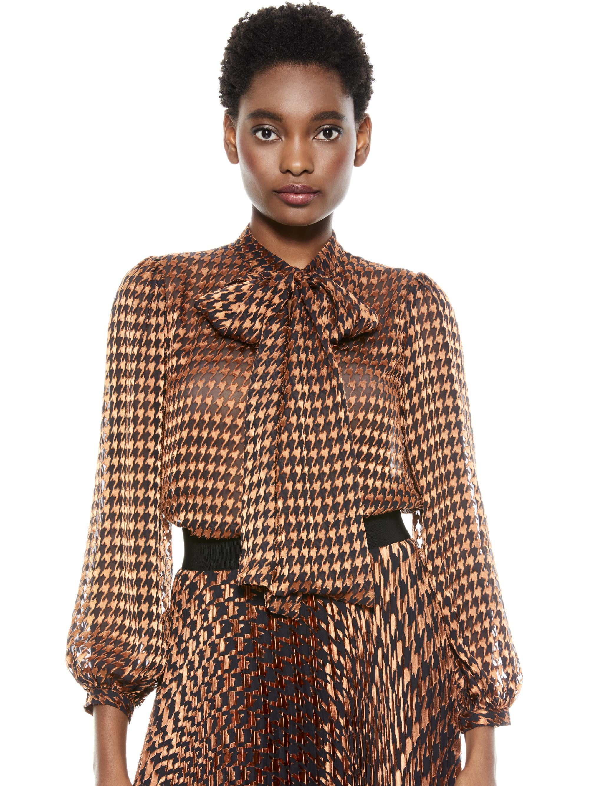 LOLITA HOUNDSTOOTH TIE NECK BLOUSE