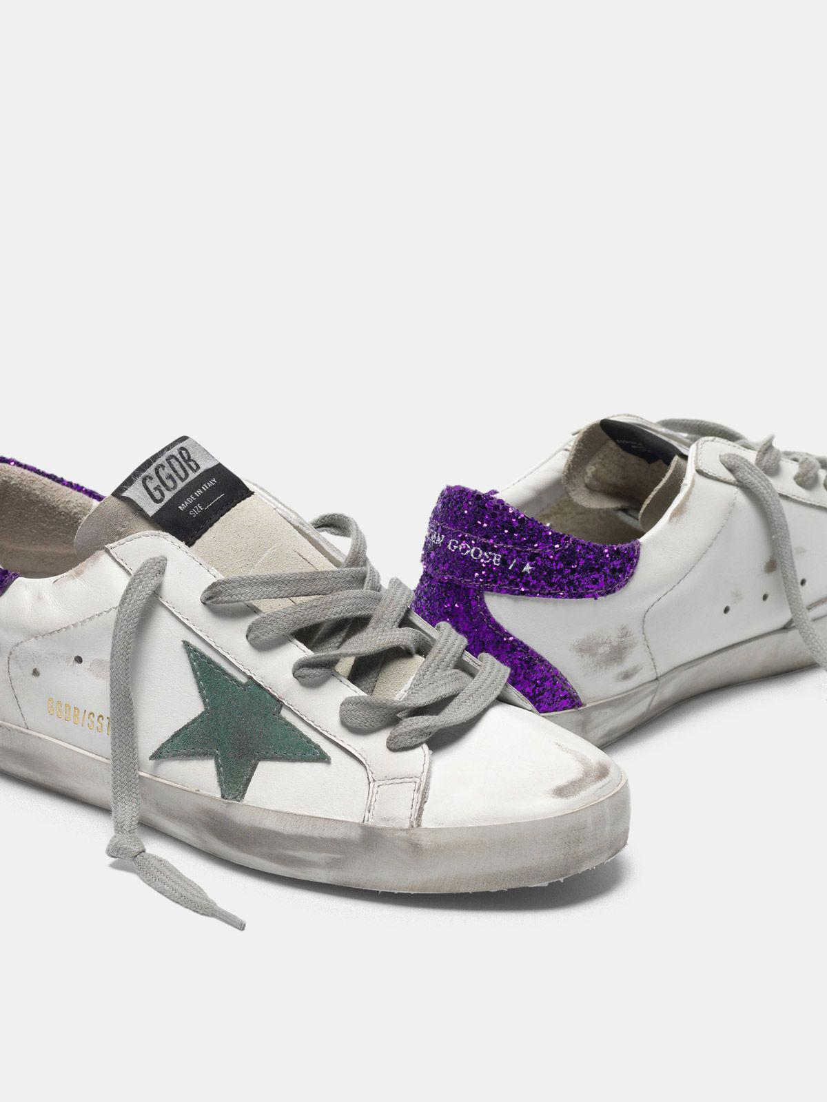 White Super-Star sneakers with glittery purple rear 3
