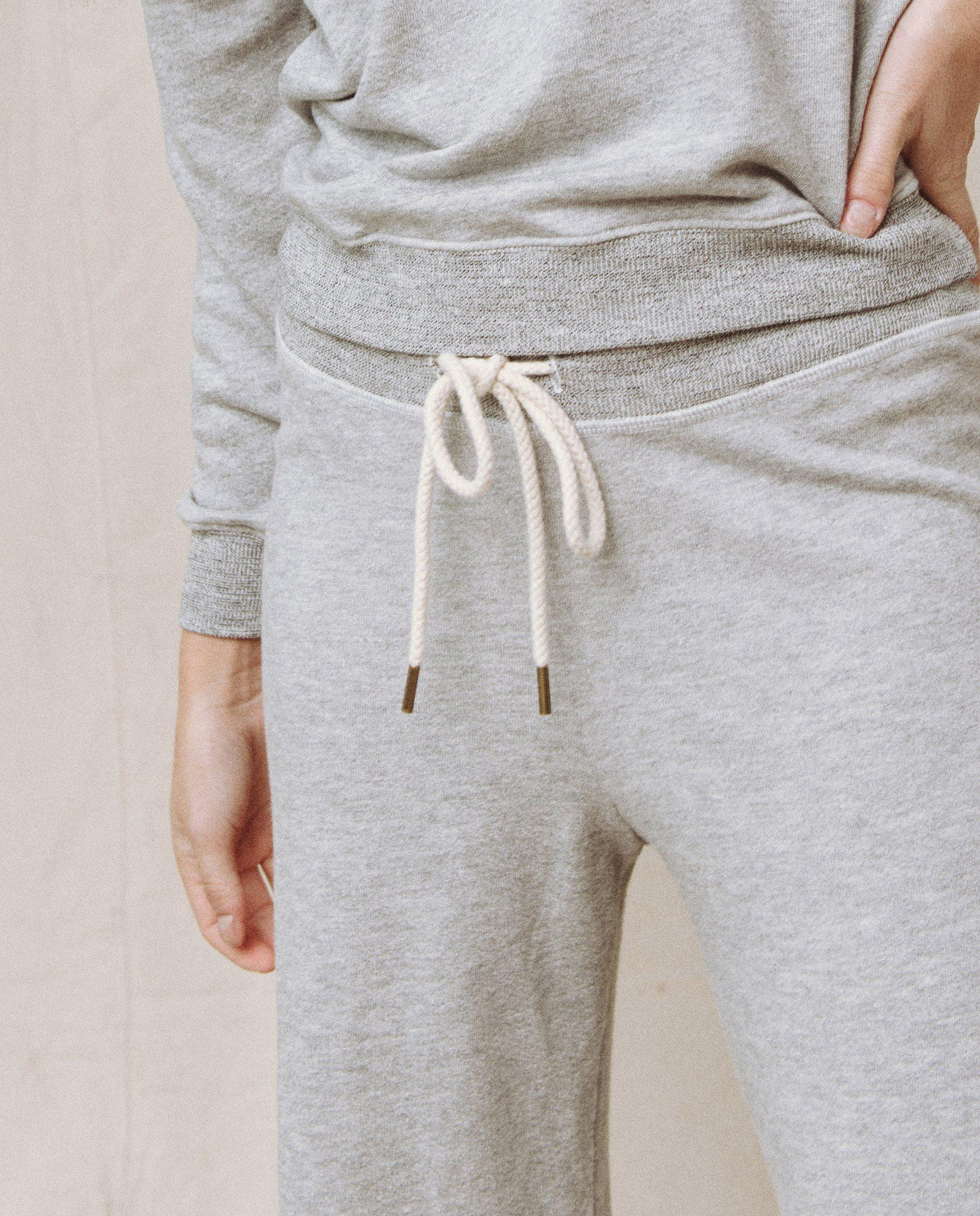 The Wide Leg Cropped Sweatpant. -- LIGHT HEATHER GREY 3
