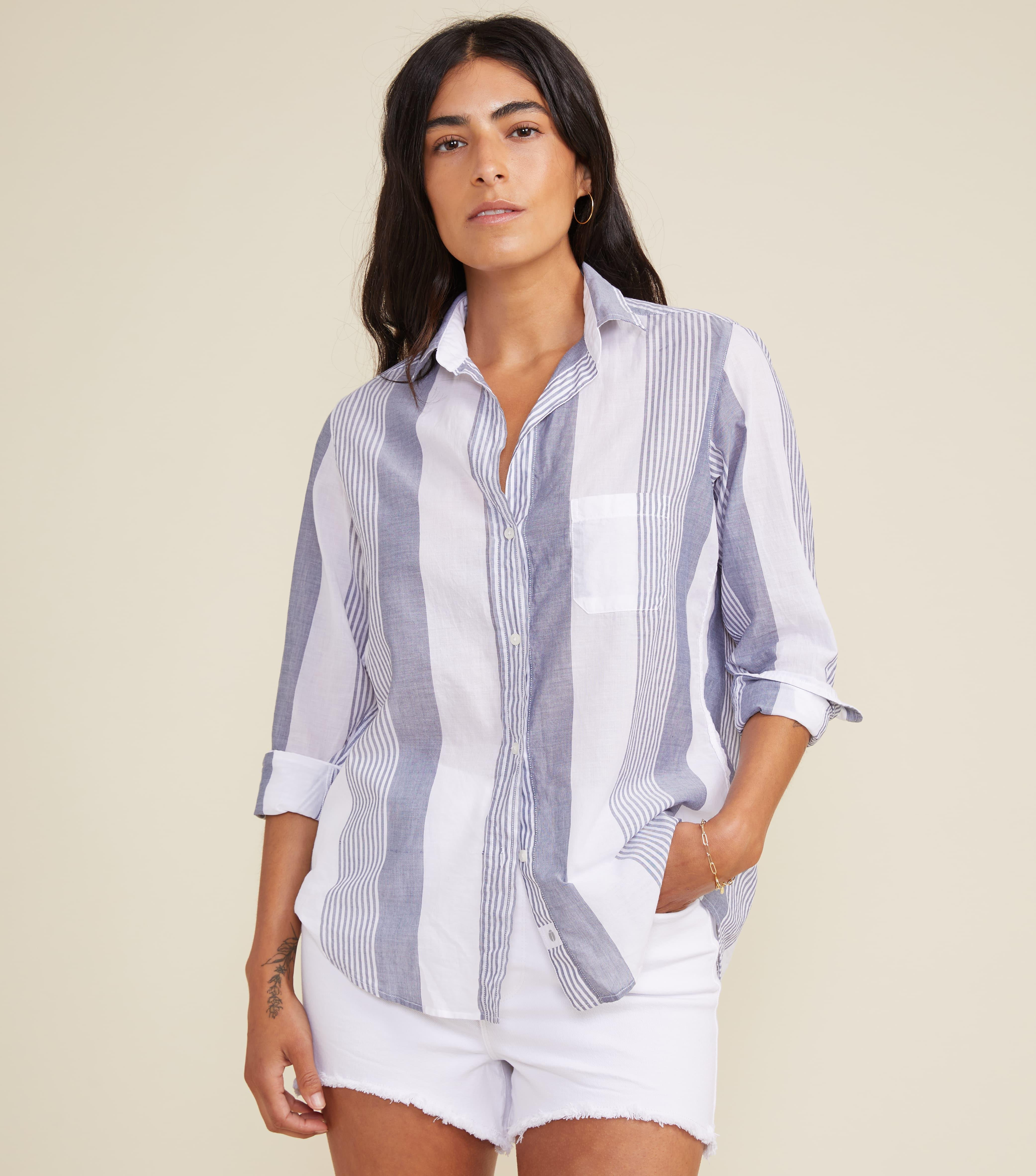 The Hero Button-Up Shirt Wide Blue Stripes, Tissue Cotton