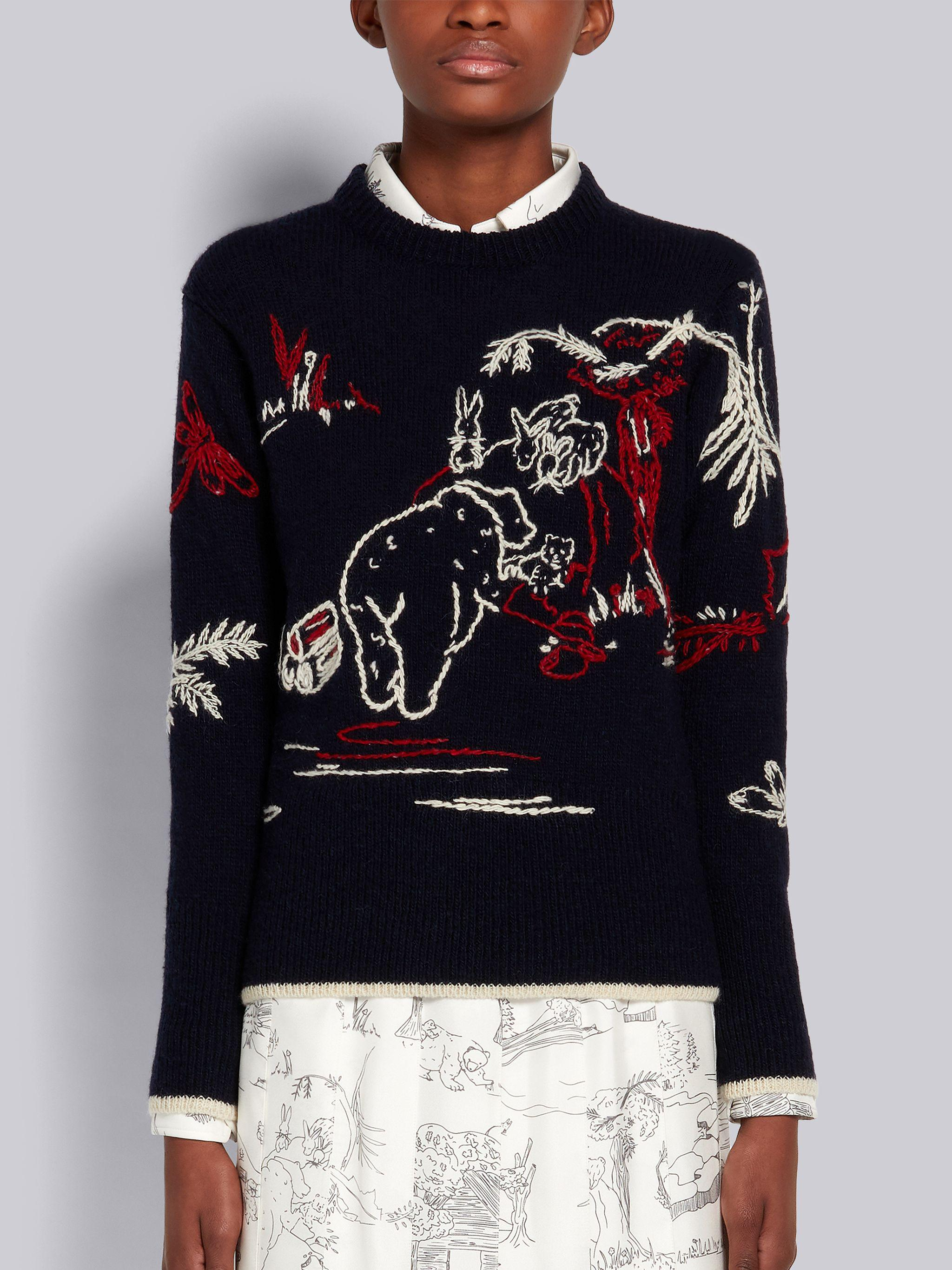 Navy Mohair Tweed Hand Embroidered Bear Scenery Tipping Classic Crew Neck Pullover