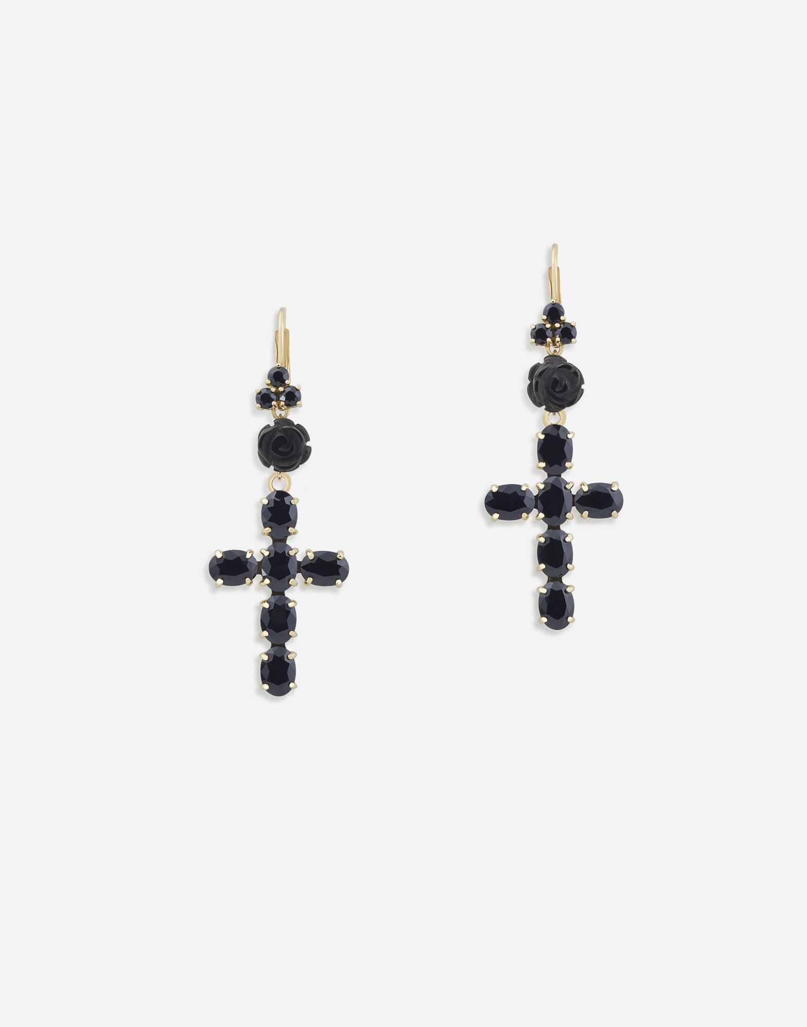 Devotion earrings in yellow gold with black sapphires