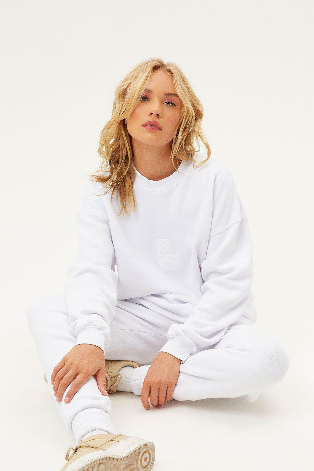 Bennie Oversized Crewneck Sweatshirt - White