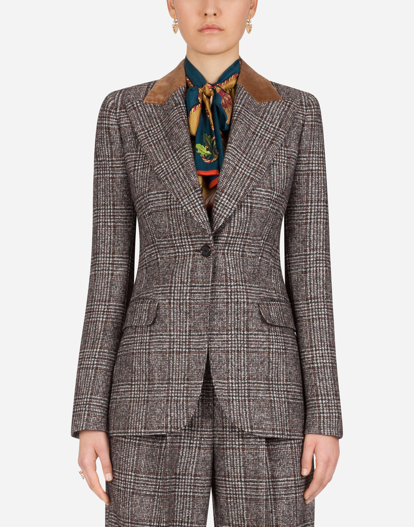 Single-breasted jacket in glen plaid with velvet collar