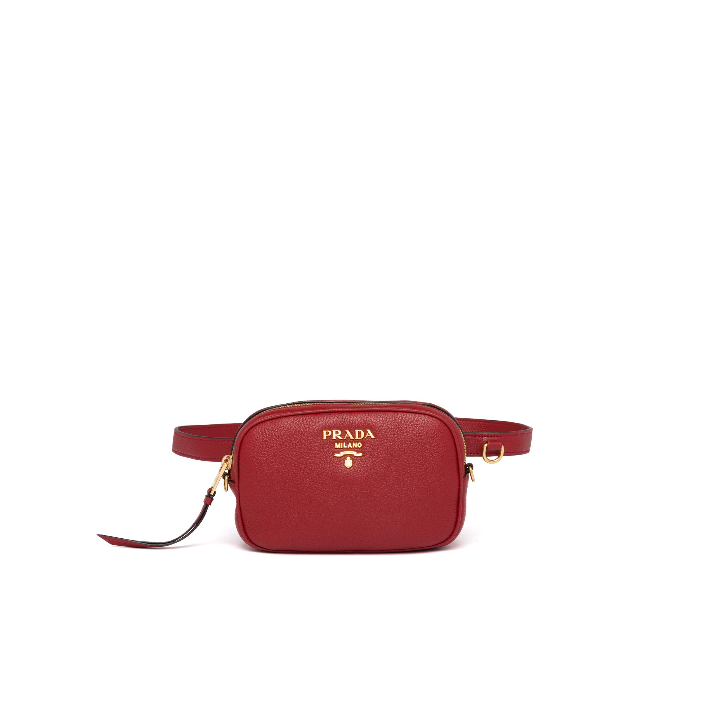 Leather Belt Bag Women Ruby Red