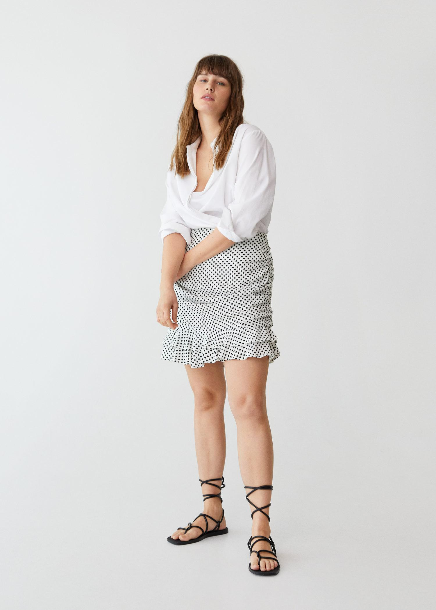 Gathered skirt with ruffles
