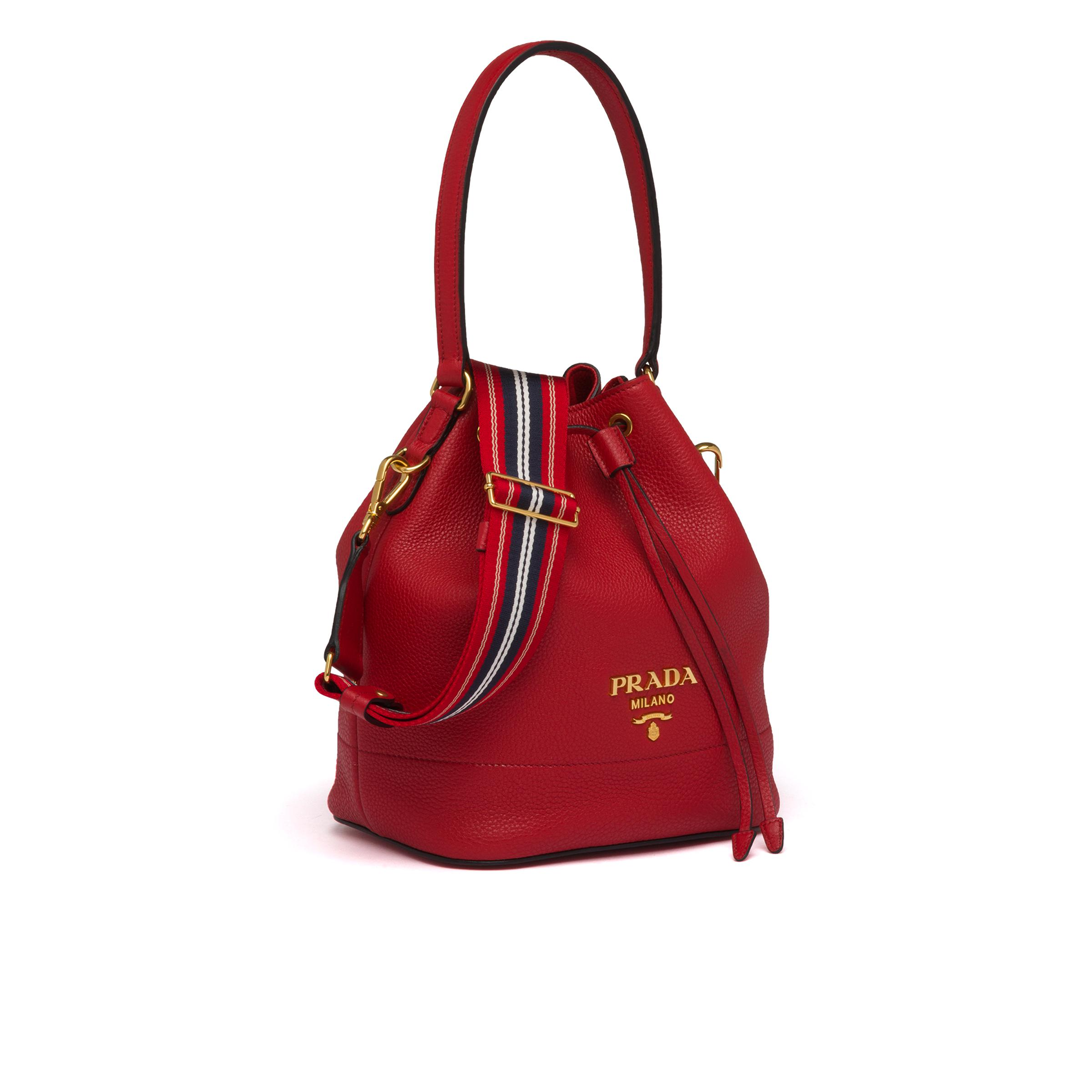 Leather Bucket Bag Women Red D 2