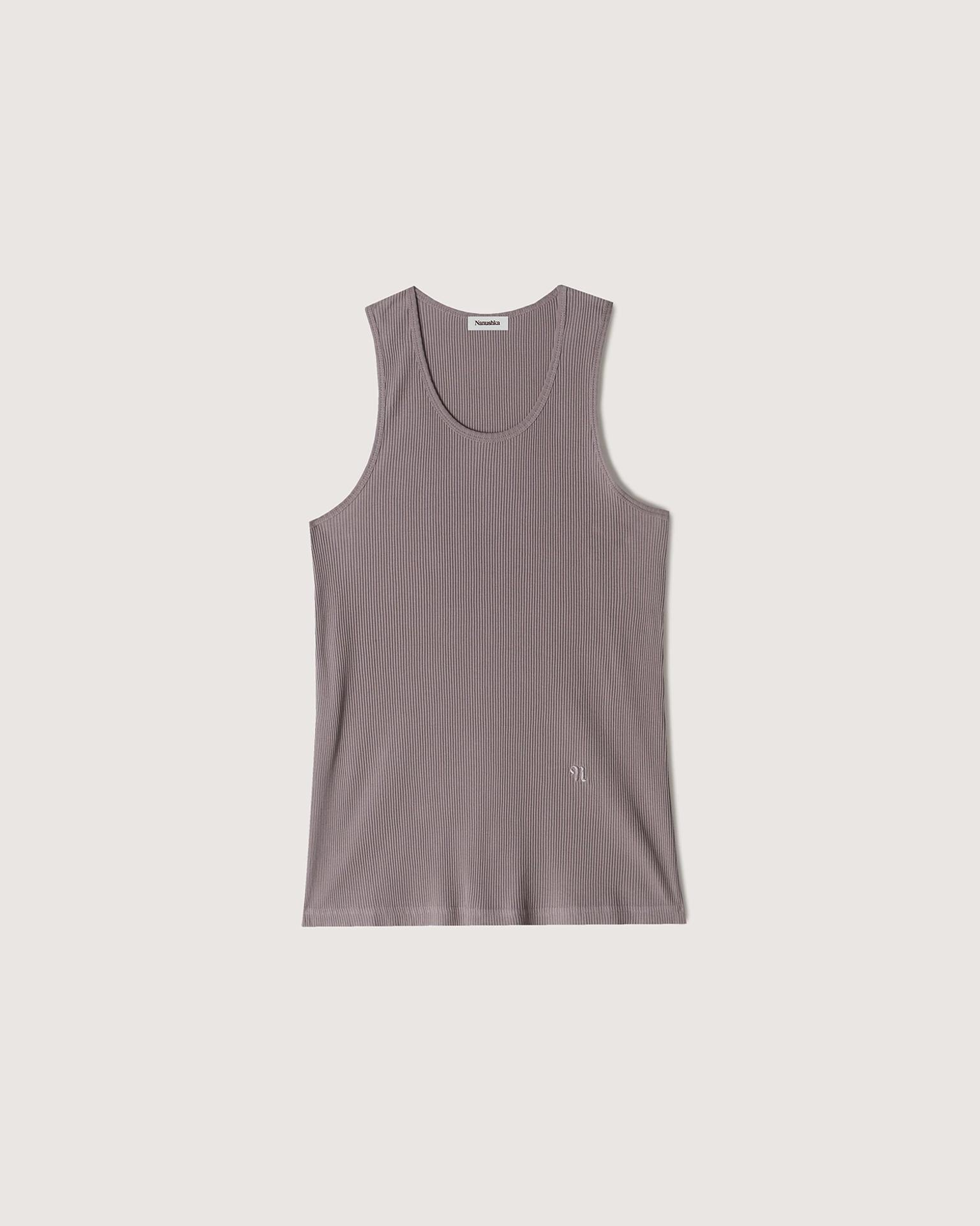 KORBEN - Ribbed-jersey top - Washed lilac