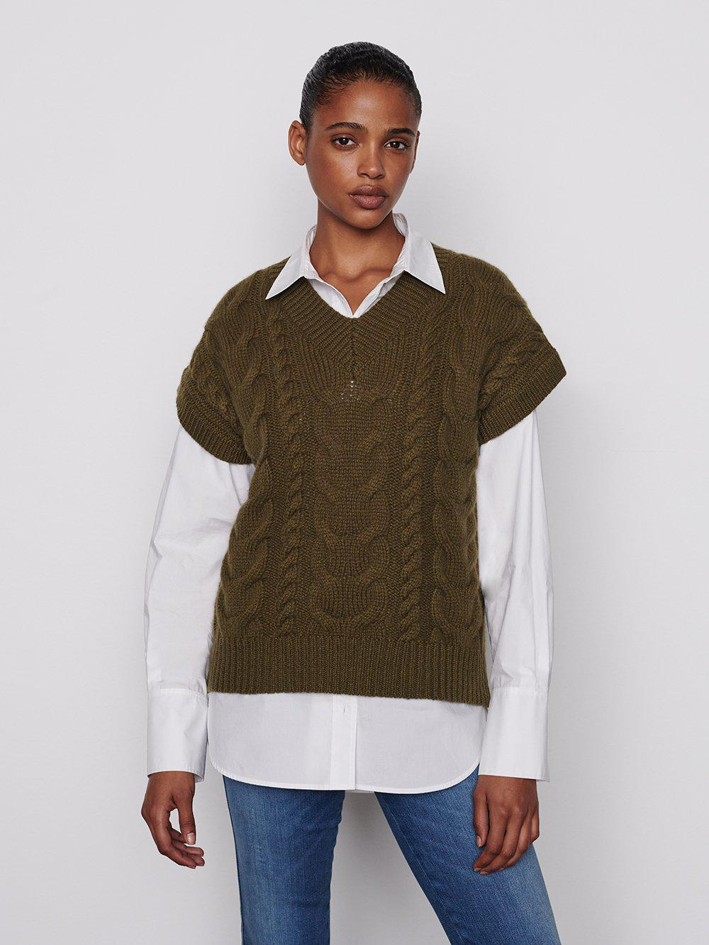 Cable V Neck Sweater -- Surplus