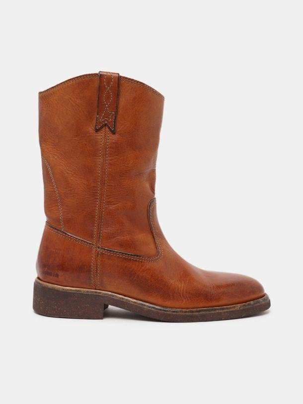 Biker boots in tan-colored leather