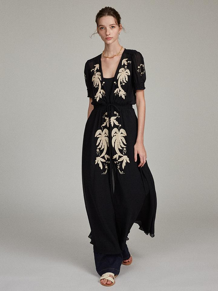Lea Robe in Black with Embroidered Palms