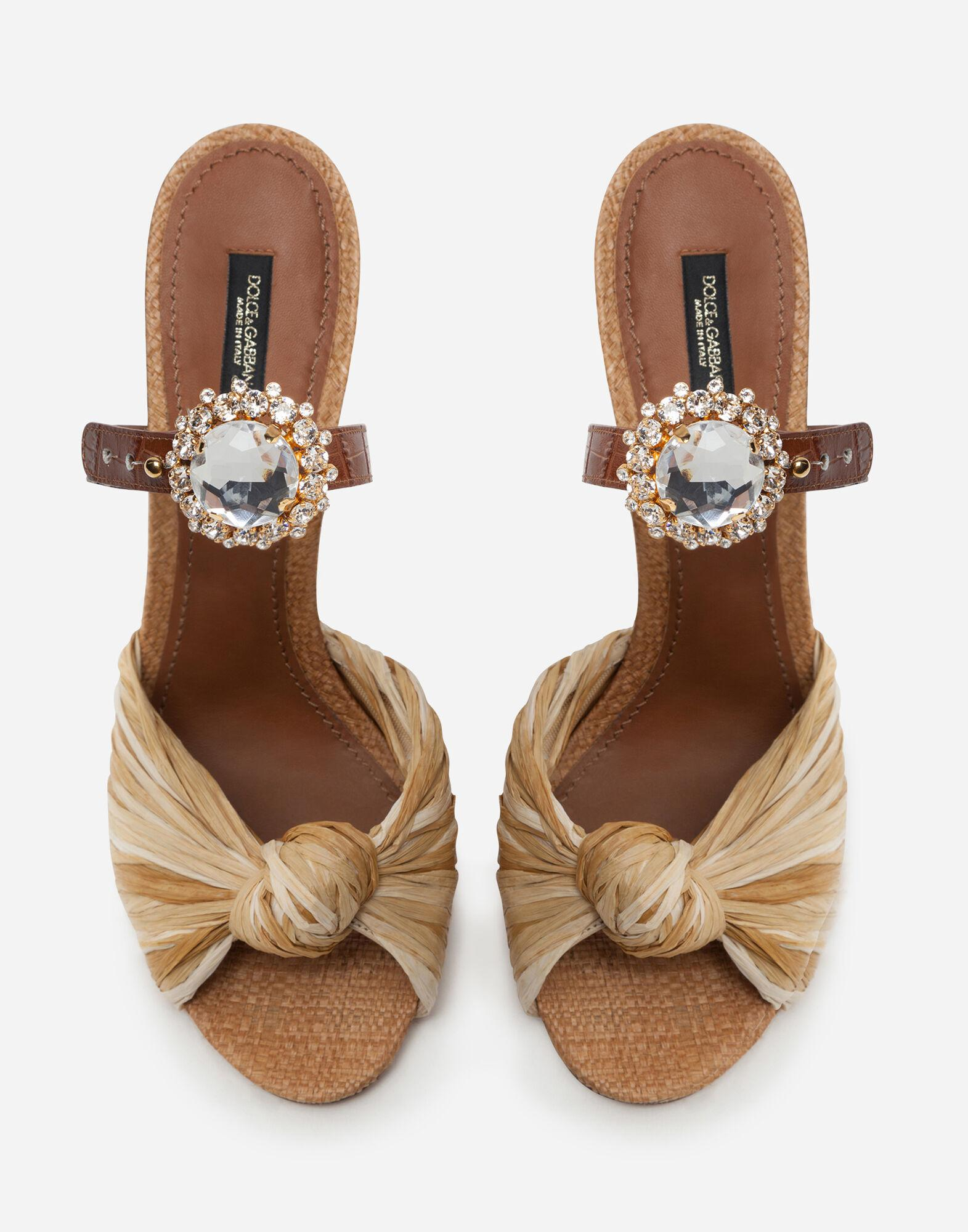 Mules in tropea straw and calfskin with bejeweled buckle 3