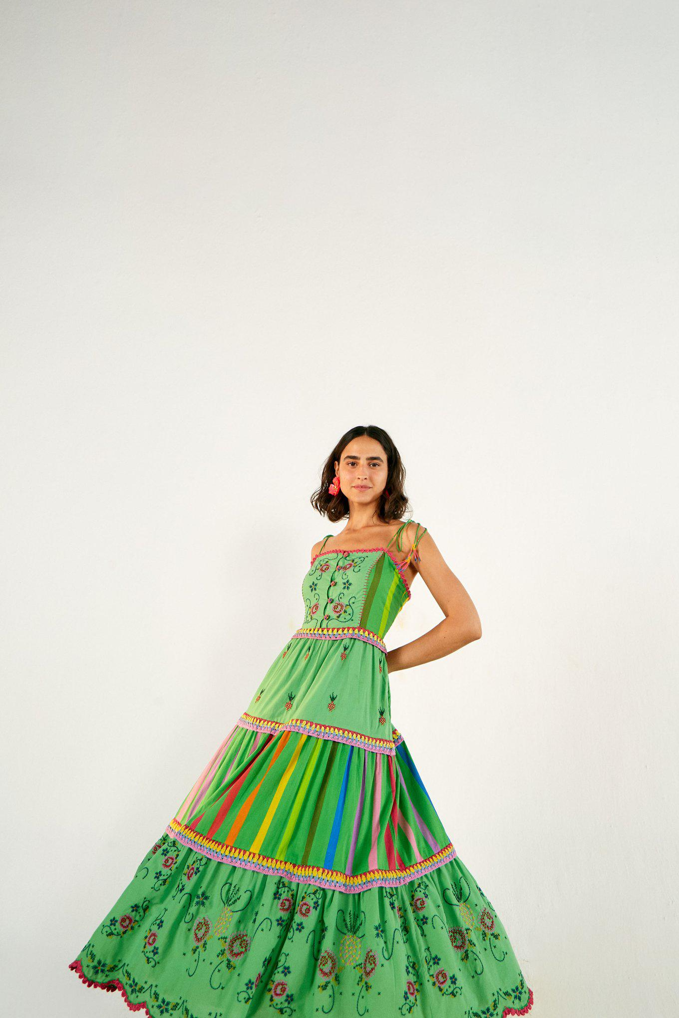 GREEN EMBROIDERED TIERED DRESS