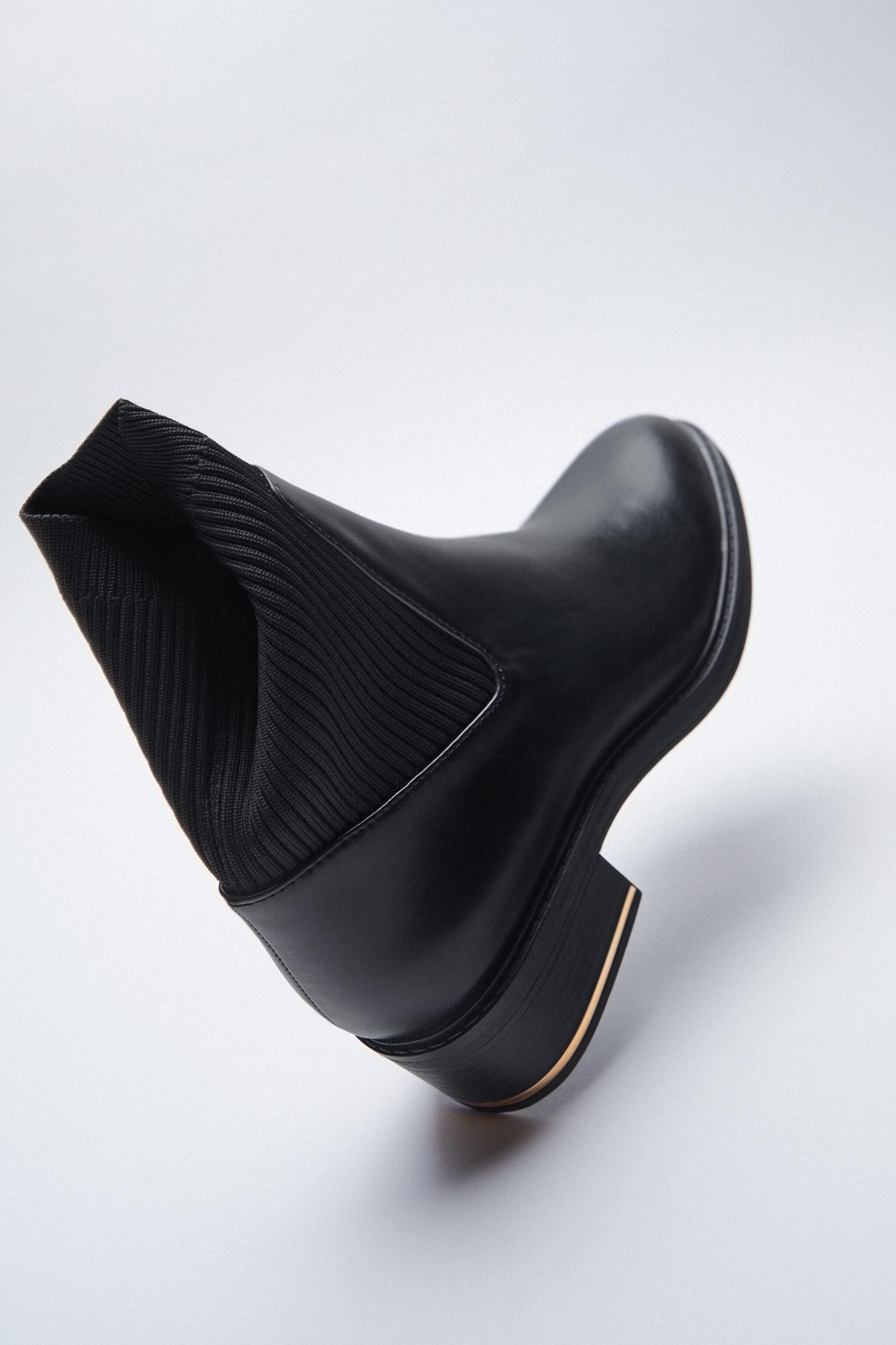 LOW HEELED SOCK-STYLE ANKLE BOOTS 5