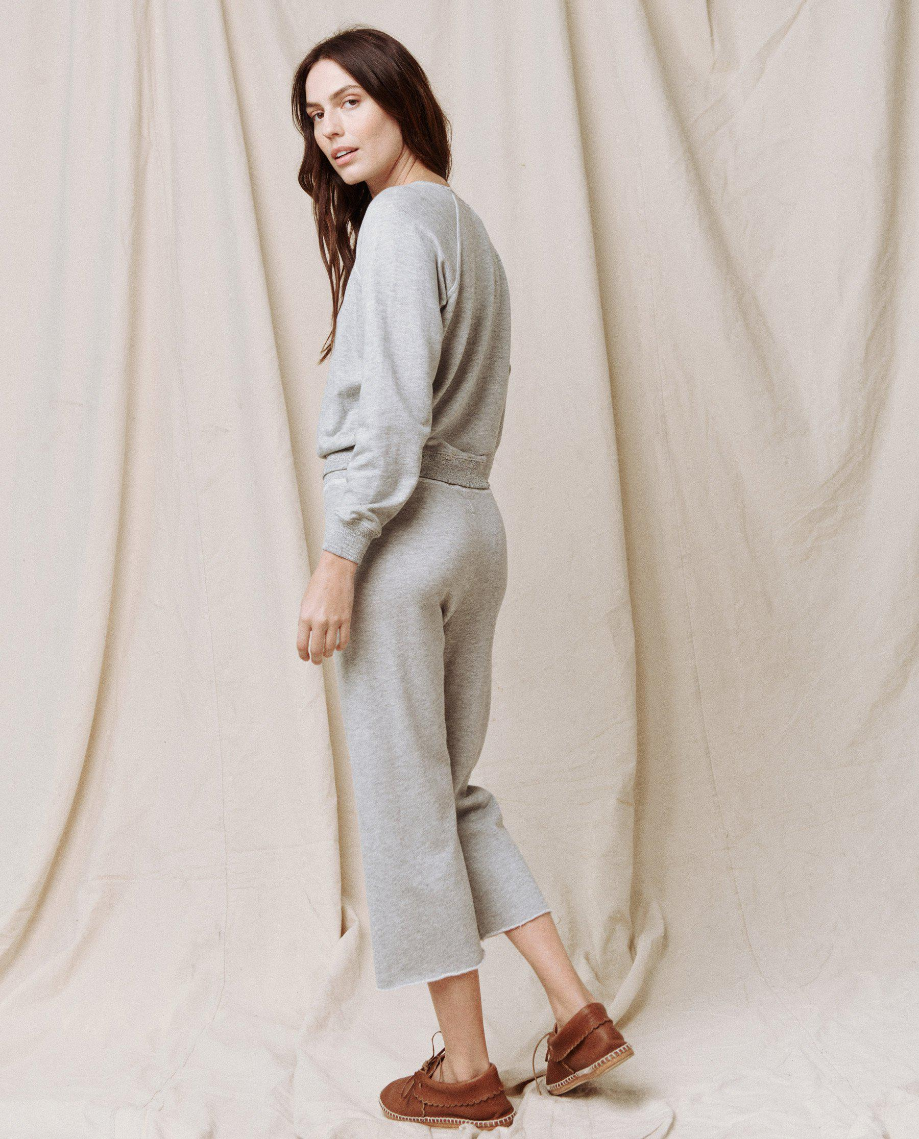 The Wide Leg Cropped Sweatpant. -- LIGHT HEATHER GREY 2
