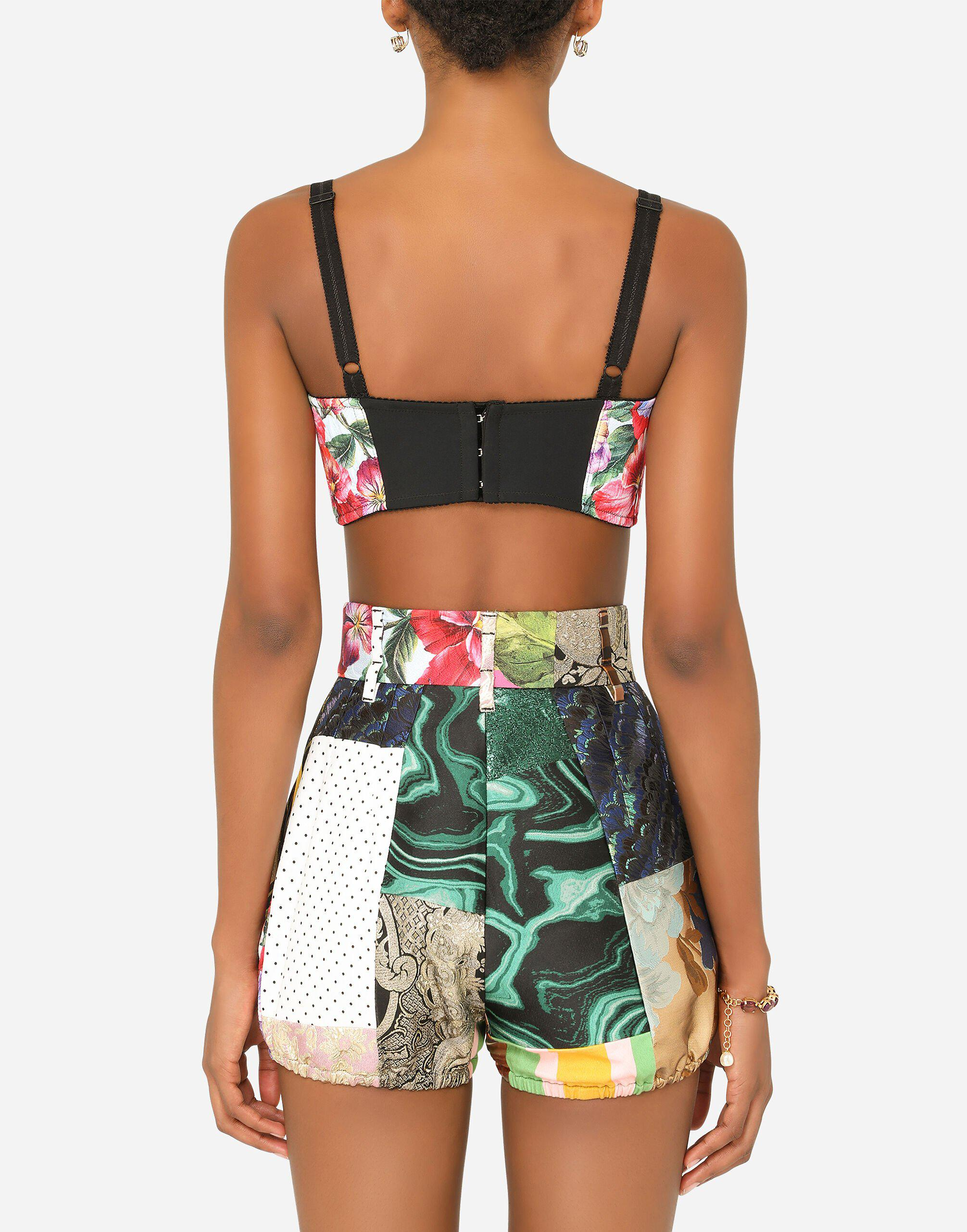 Patchwork drill and brocade jacquard bustier top 1