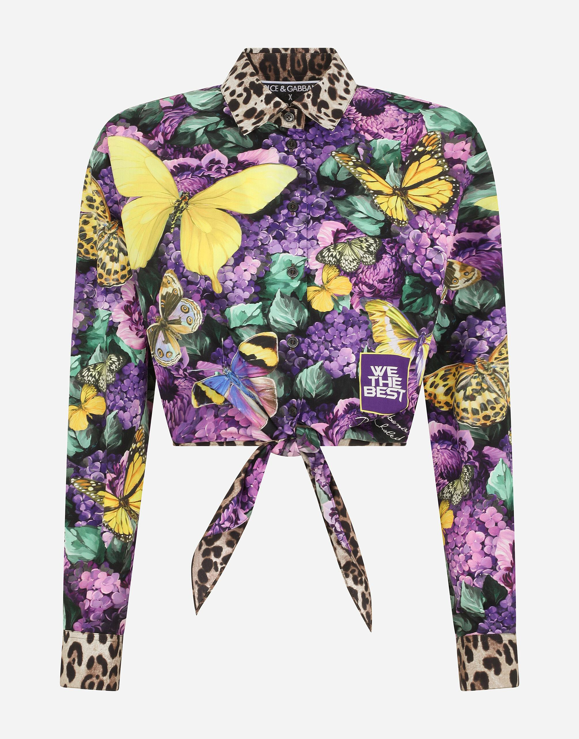 Short poplin shirt with butterfly print and knot detail 3