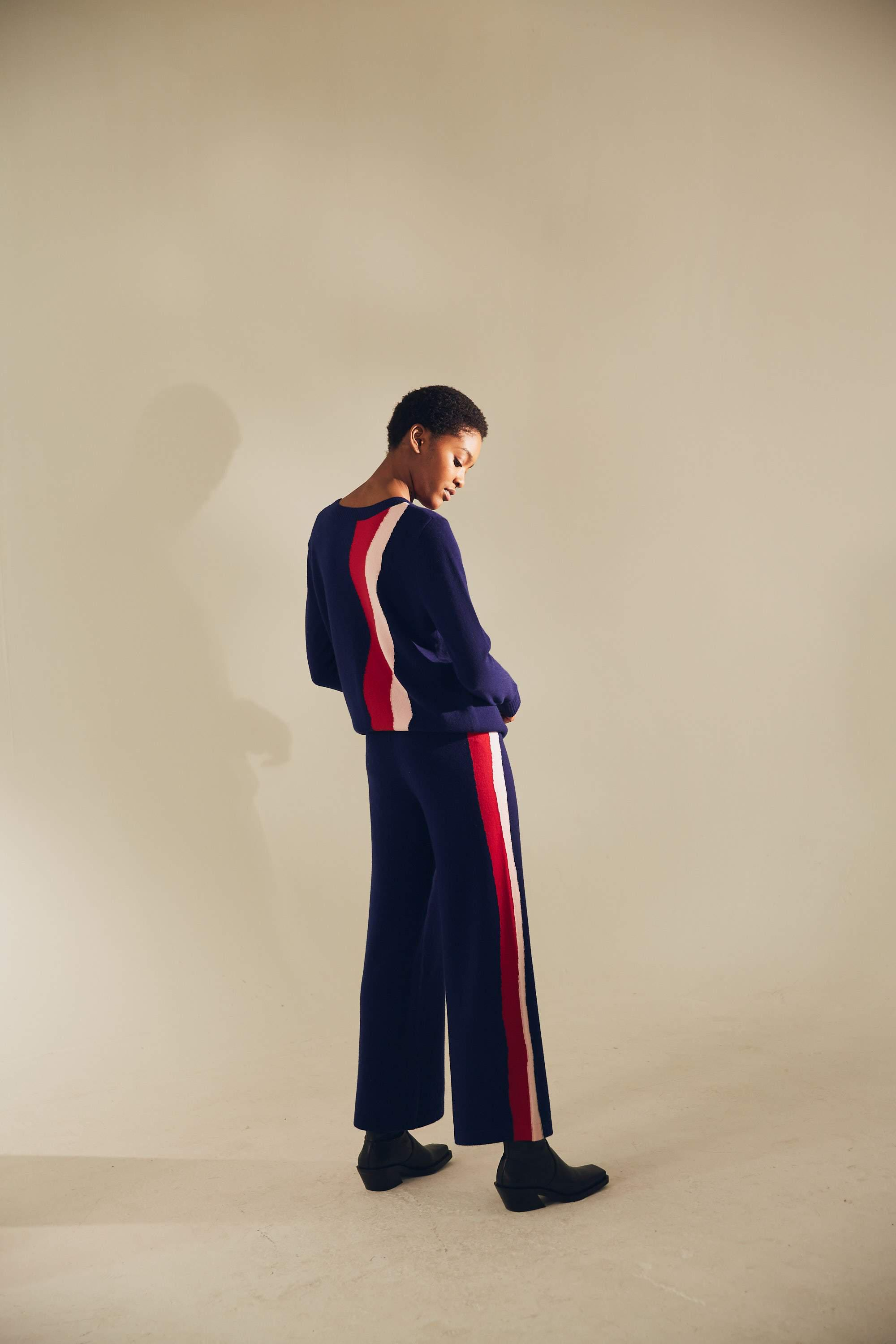 Wavy Knit Wide Track Pant 1